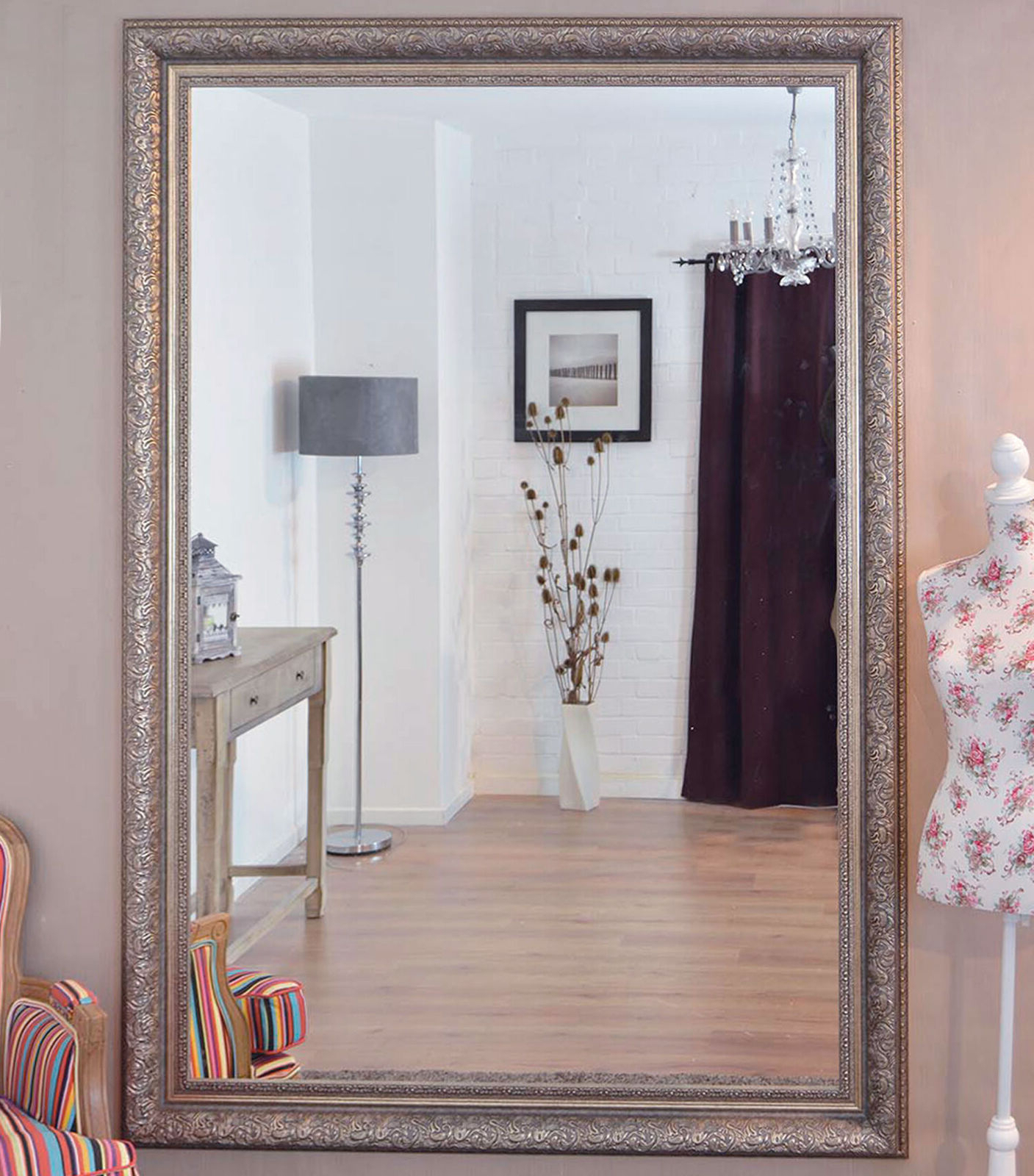 Most Up To Date Extra Large Silver Ornate Decorative Big Wall Mirror 6ft10 X 4ft10 208x147cm With Big Wall Mirrors (View 7 of 20)