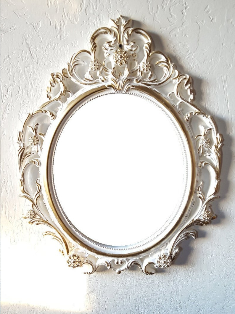 Most Up To Date Free Shipping Large White Gold Wall Mirror/ Baroque Mirror/ Shabby Chic  Mirror/hollywood Regency Mirror Bathroom Bedroom Nursery With Baroque Wall Mirrors (View 12 of 20)