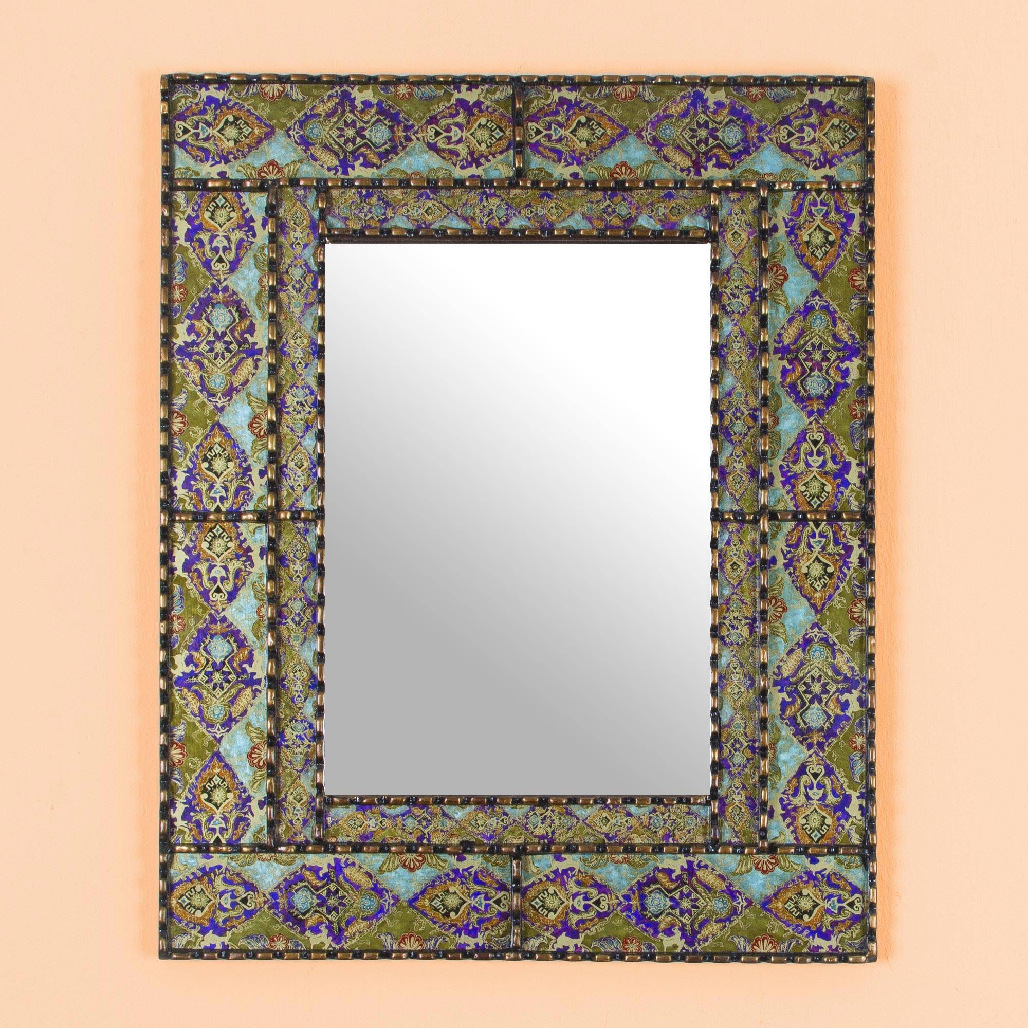 Most Up To Date Hand Painted Rectangular Wood Wall Mirror From Peru, 'colorful Reflection' For Hand Painted Wall Mirrors (View 12 of 20)