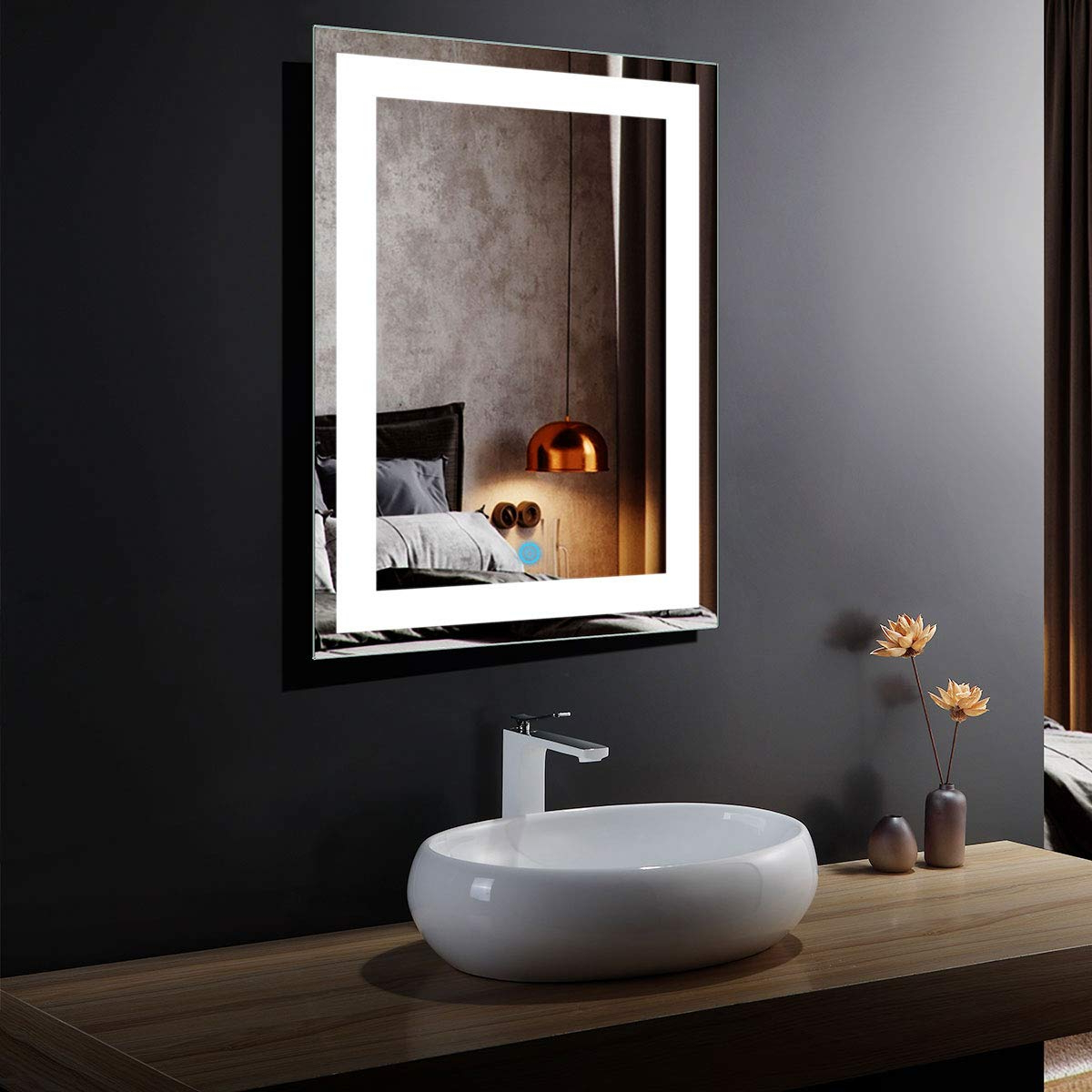 "Most Up To Date Illuminated Wall Mirrors For Bathroom In Dp Home 24"" Led Lighted Illuminated Bathroom Vanity Wall Mirror With Touch Sensor, Vertical Rectangle White Mirrors 24 X 32 In E Ck010 (Gallery 12 of 20)"