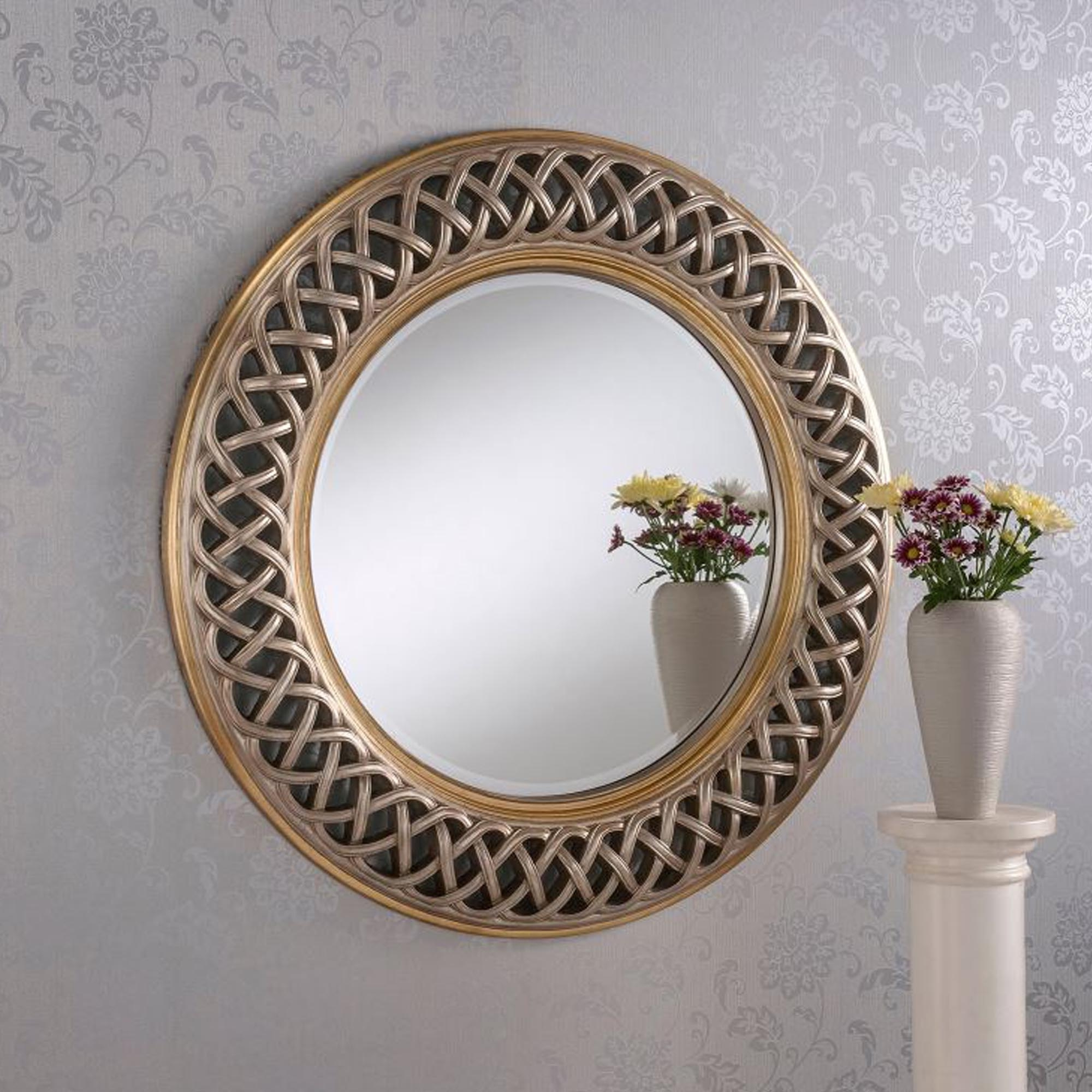 Most Up To Date Interlocking Lace Silver/gold Decorative Wall Mirror Inside Cheap Decorative Wall Mirrors (View 8 of 20)