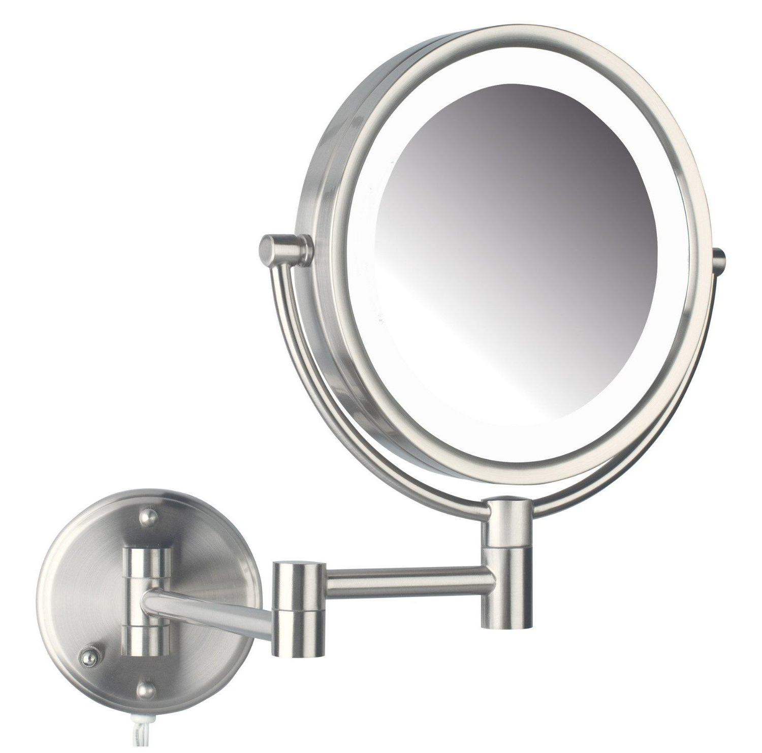 Most Up To Date Jerdon Hl88nl Two Sided Swivel Led Lighted Wall Mount Mirror With 8x Magnification Nickel Finish, 8.5 Inch, (View 8 of 20)