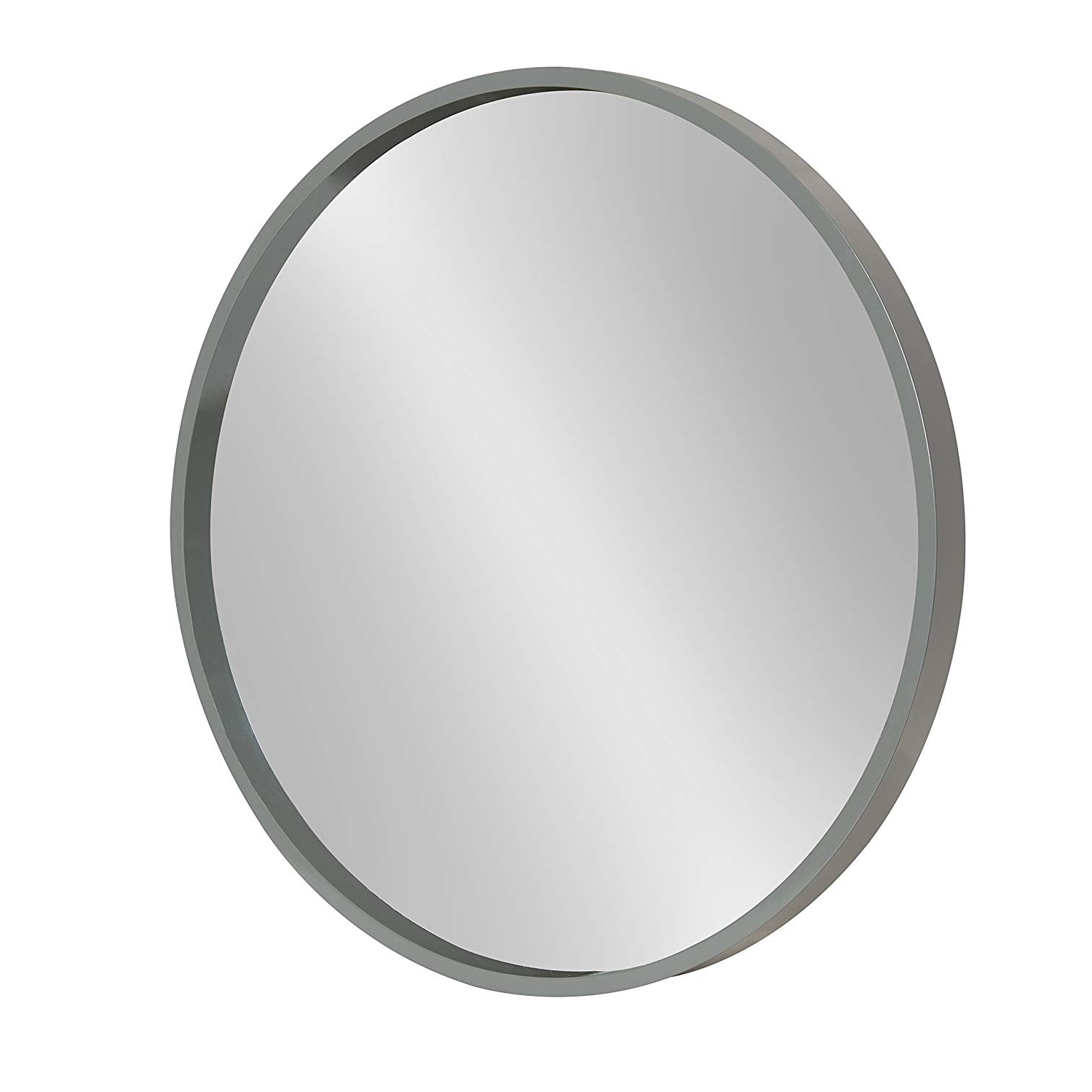 "Most Up To Date Kate And Laurel Travis Round Wood Accent Wall Mirror, 21.6"" Diameter, Gray With Wood Accent Mirrors (Gallery 16 of 20)"