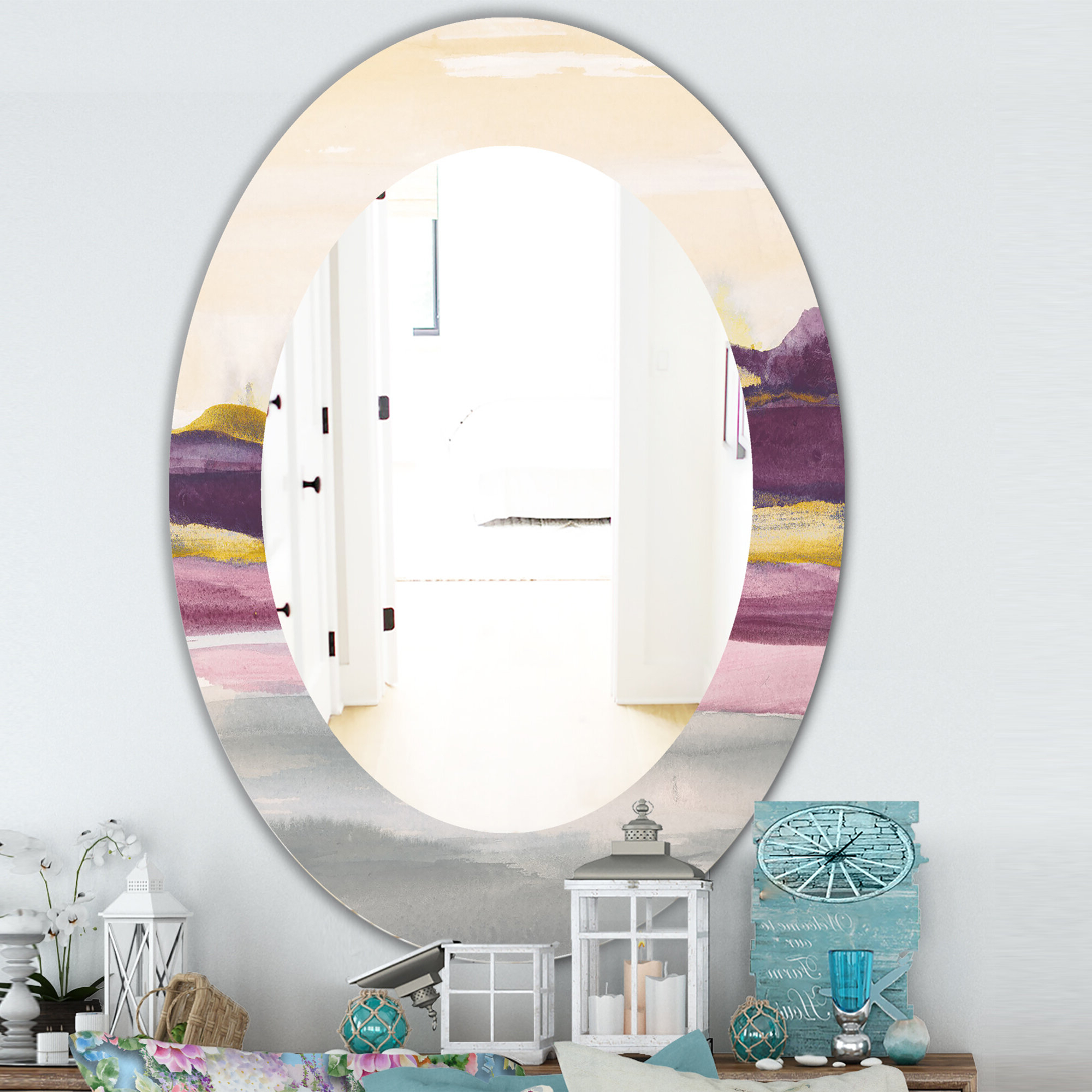 Most Up To Date Landscape Wall Mirrors With Regard To Painted Landscape Ii Farmhouse Frameless Wall Mirror (View 18 of 20)