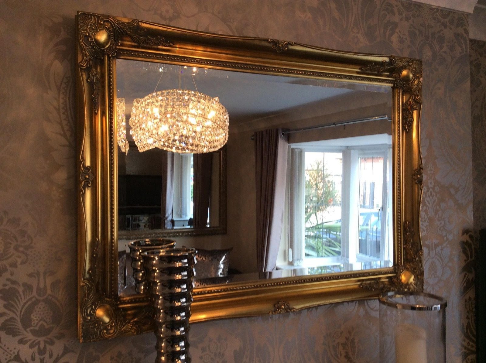 Most Up To Date Large Antique Gold Decorative Ornate Stunning Mirror Savew ££S *new* Pertaining To Large Antique Wall Mirrors (View 2 of 20)