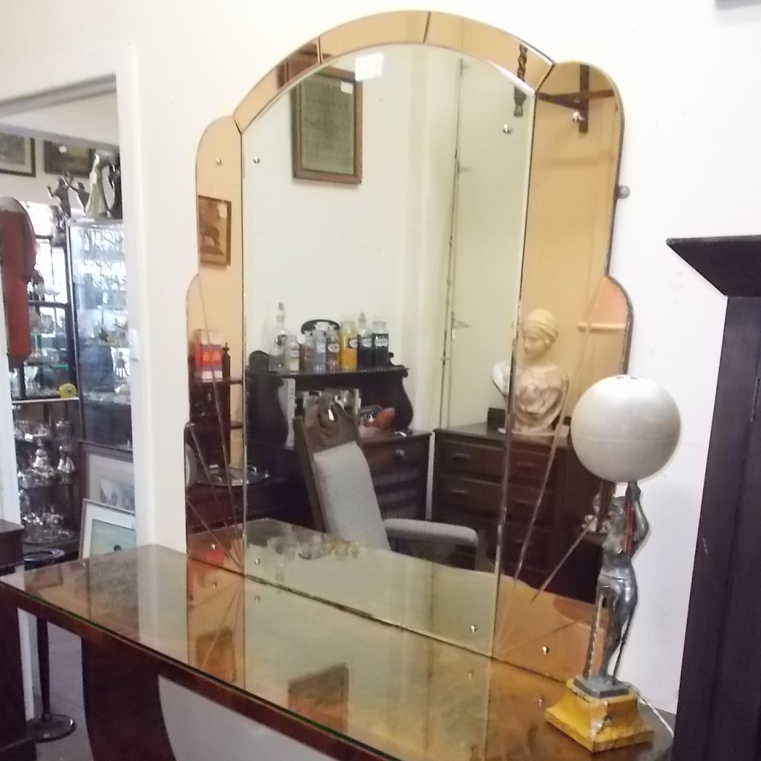 Most Up To Date Large Art Deco Wall Mirrors Within Large Art Deco Wall Mirror – Mirrors – Antique Furniture (View 17 of 20)