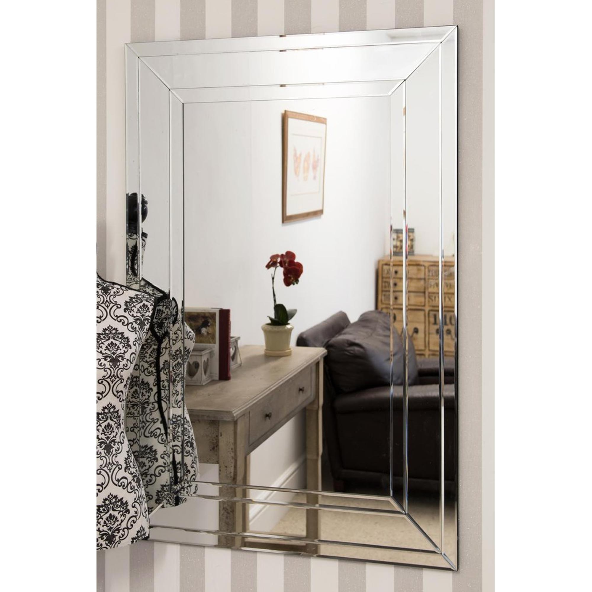 Most Up To Date Large Detailed Venetian Frameless Wall Mirror Intended For Large Wall Mirror Without Frame (View 14 of 20)