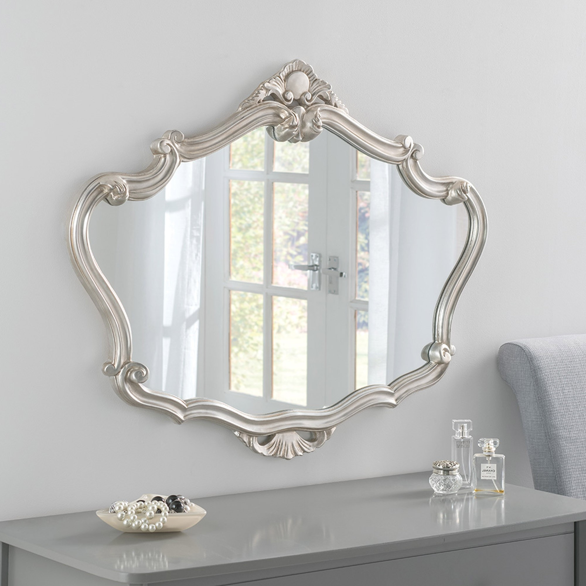 Most Up To Date Large Ornate Wall Mirrors Within Silver Ornate Detailed Large Mirror (View 4 of 20)