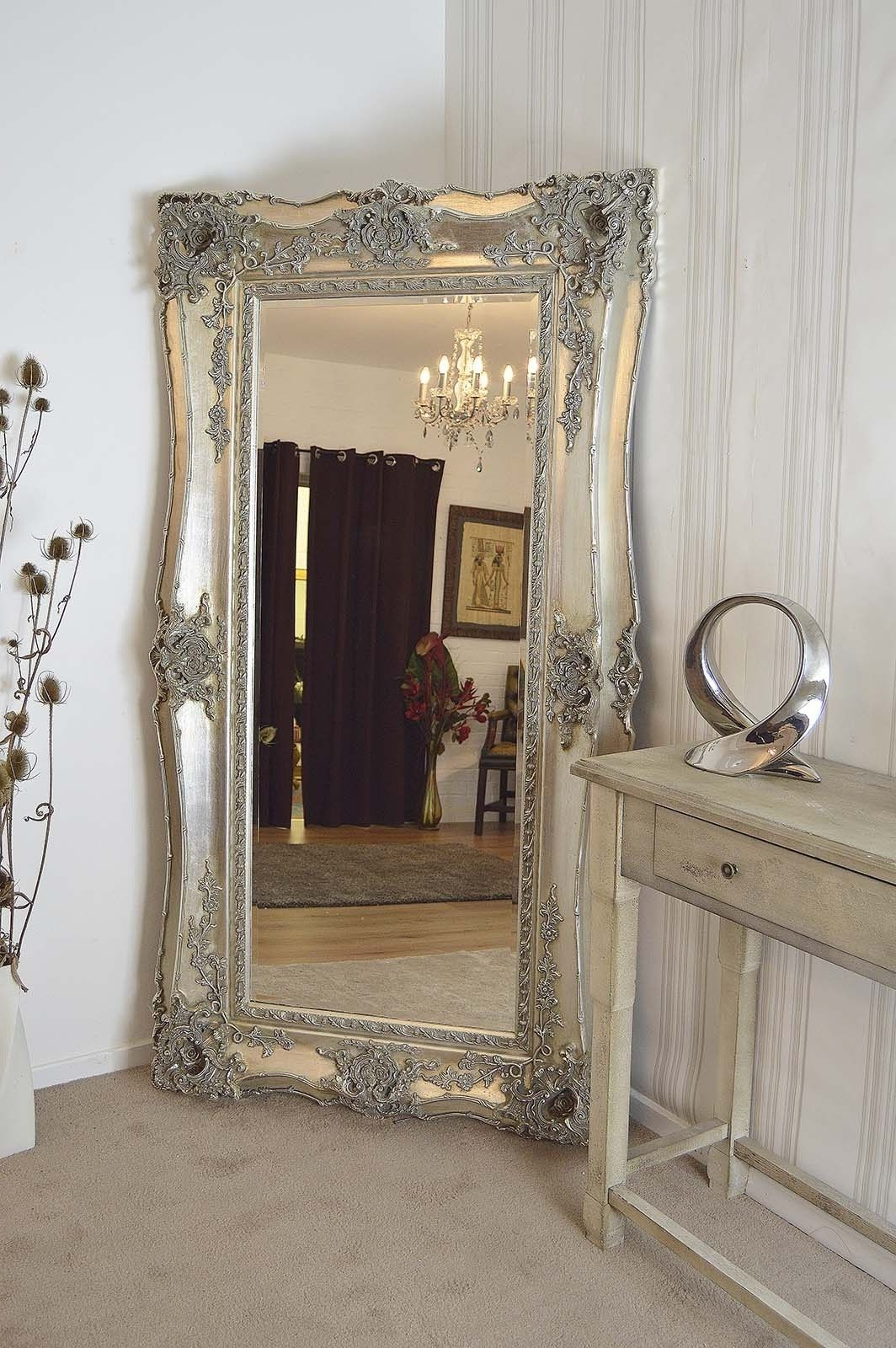 Most Up To Date Large Silver Ornate Wall Mirror (View 3 of 20)