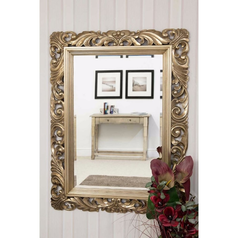 Most Up To Date Large Wall Mirrors Inside Octavia Silver Carved Detail Large Wall Mirror (View 18 of 20)
