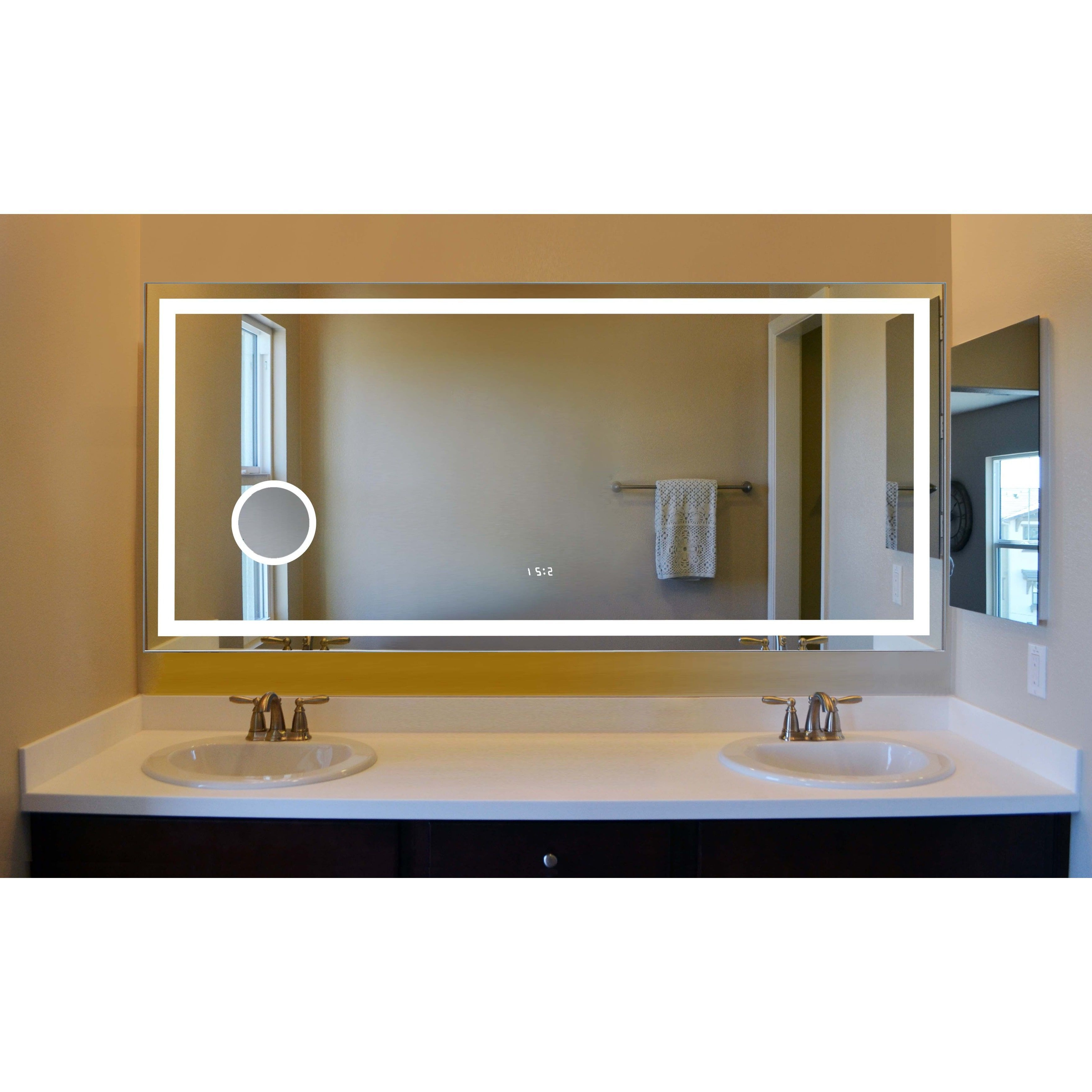 Most Up To Date Lighted Bathroom Wall Mirrors In Innoci Usa Electric Led Mirror With Four Lighted Sides, Steel Back (View 14 of 20)