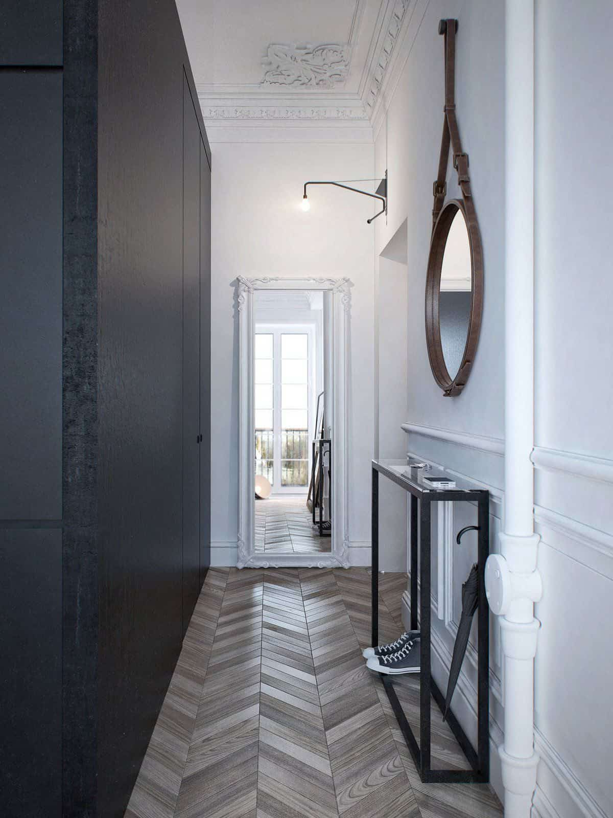 Most Up To Date Long Black Wall Mirrors Inside Long Hallway With Wall Mirror And Herringbone Floors Also (View 14 of 20)