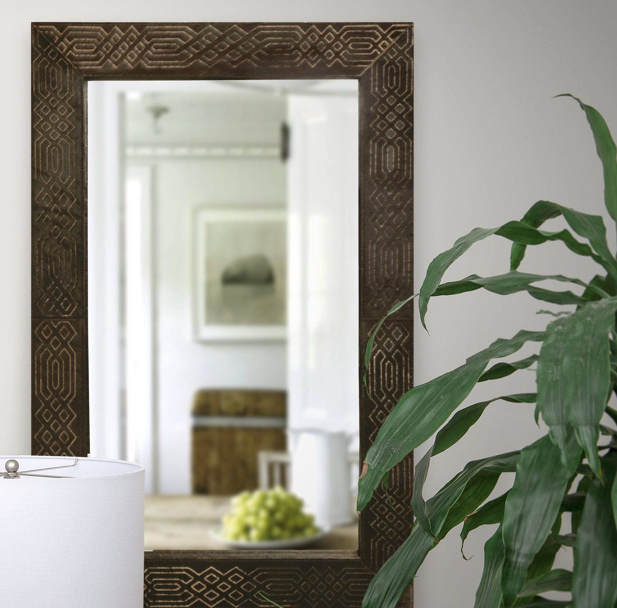 Most Up To Date Lurline Rectangular Framed Wall Mirror For Leather Framed Wall Mirrors (View 10 of 20)