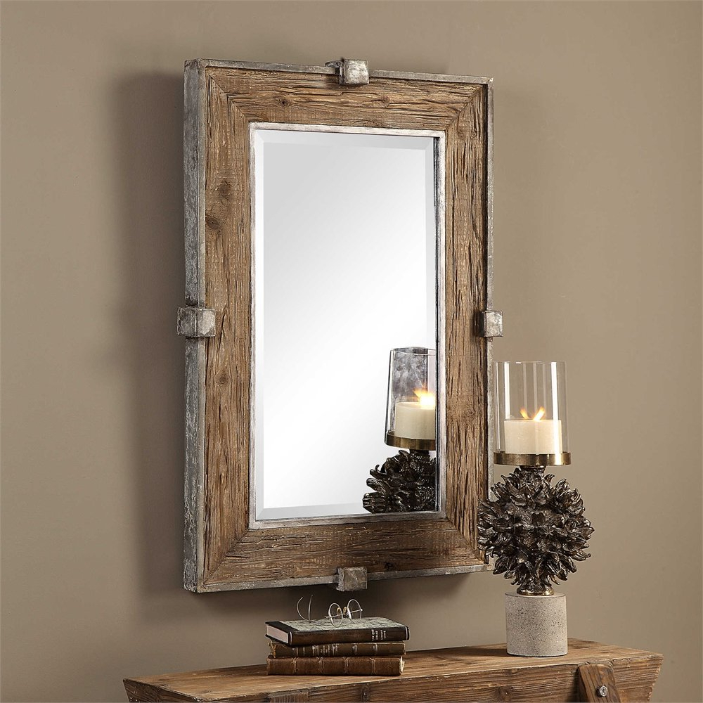Most Up To Date Maleah Weathered Wood Accent Mirror With Tifton Traditional Beveled Accent Mirrors (View 15 of 20)