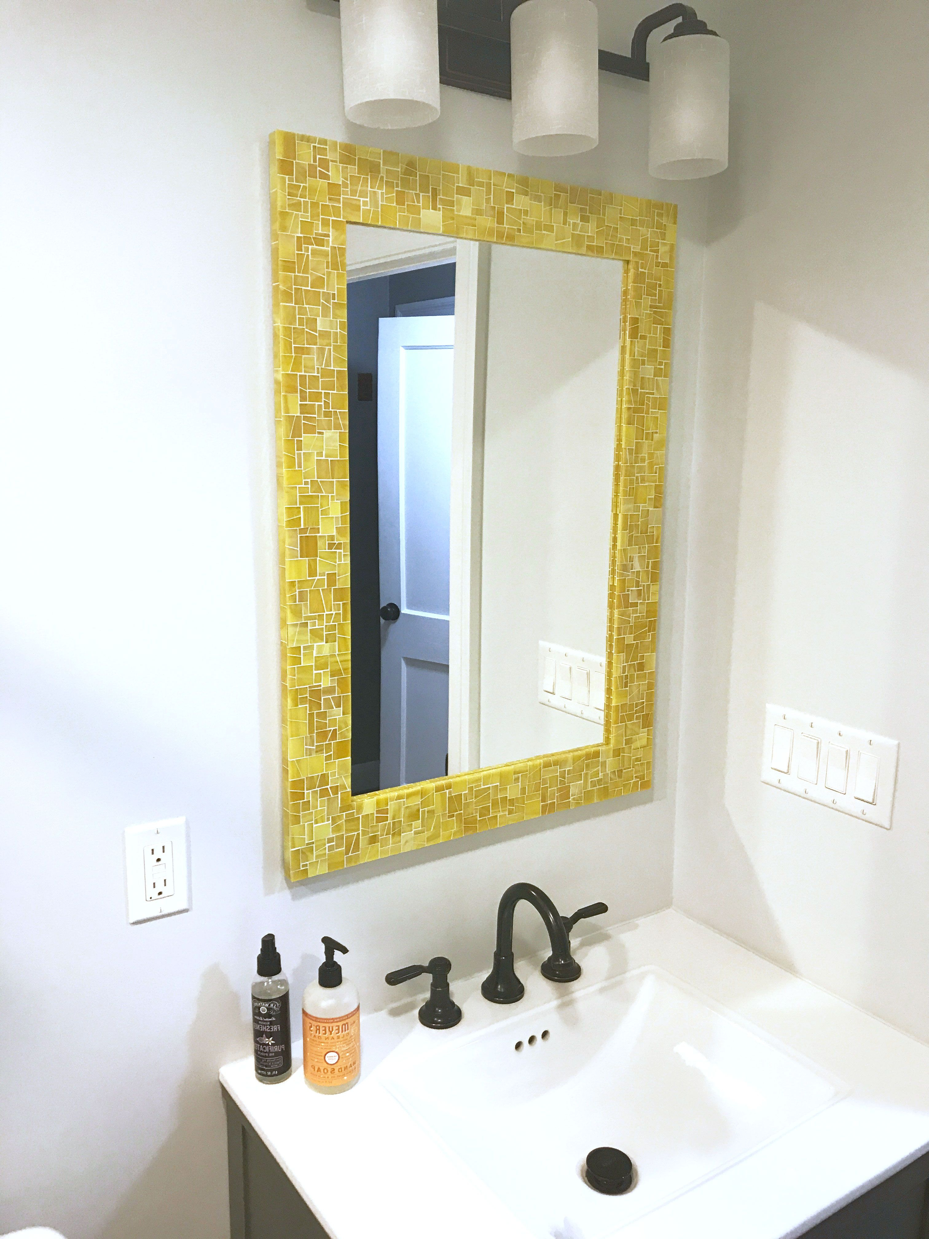 Most Up To Date Mosaic Mirror – Wall Mirror – Yellow Bathroom Mirror In Stained For Yellow Wall Mirrors (View 16 of 20)