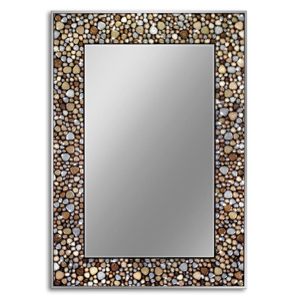 Most Up To Date Mosaic Wall Mirrors For Deco Mirror Frame Less Mosaic 22 In. X 32 In. Pebble Glass Wall Mirror (Gallery 5 of 20)