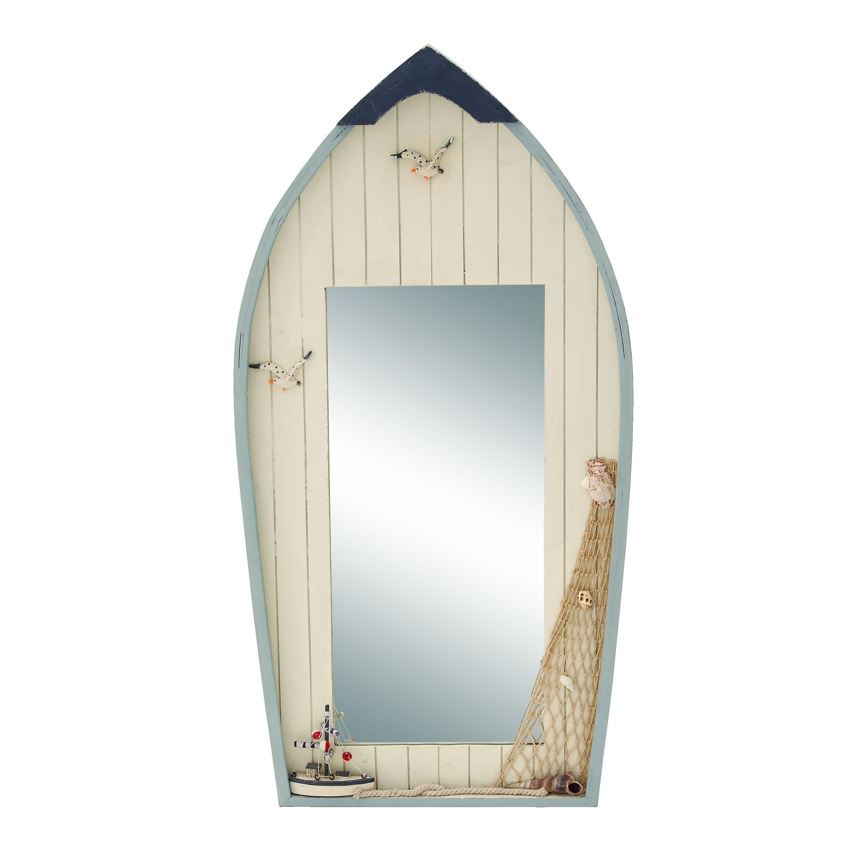 Most Up To Date Nautical Wall Mirrors Within Studio 350 Seaside Nautical Row Boat Mirror Decor With (View 9 of 20)