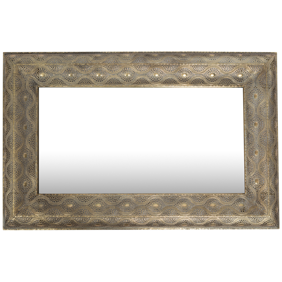 Most Up To Date Oblong Wall Mirrors With Regard To Filigree Metal Rectangular Wall Mirror (View 9 of 20)