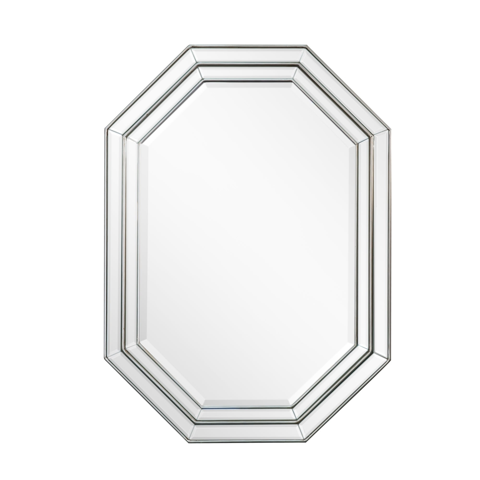 Most Up To Date Octagon Wall Mirrors For Octagonal Silver Beveled Frame Wall Mirror – Antique Silver (View 9 of 20)
