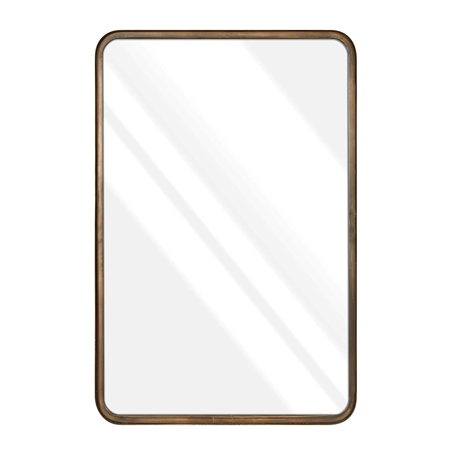 "Most Up To Date Rectangle Accent Mirrors In 20 X 30"" Large Rectangle Mirror – Beautiful Brushed Gold Wall Mirror – Handcrafted Accent Mirror – Metal Framed Decorative Mirrors For Wall – Hanging (View 11 of 20)"