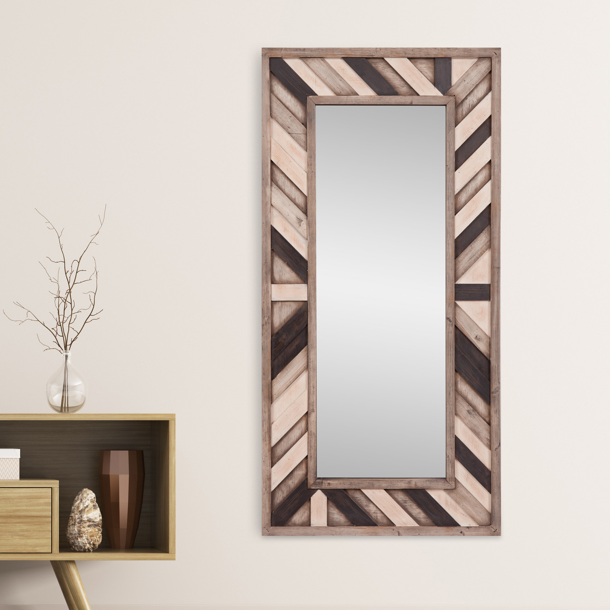 Most Up To Date Rustic Wood Wall Mirrors For Catalano Rustic Wood Wall Mounted Mirror (View 6 of 20)