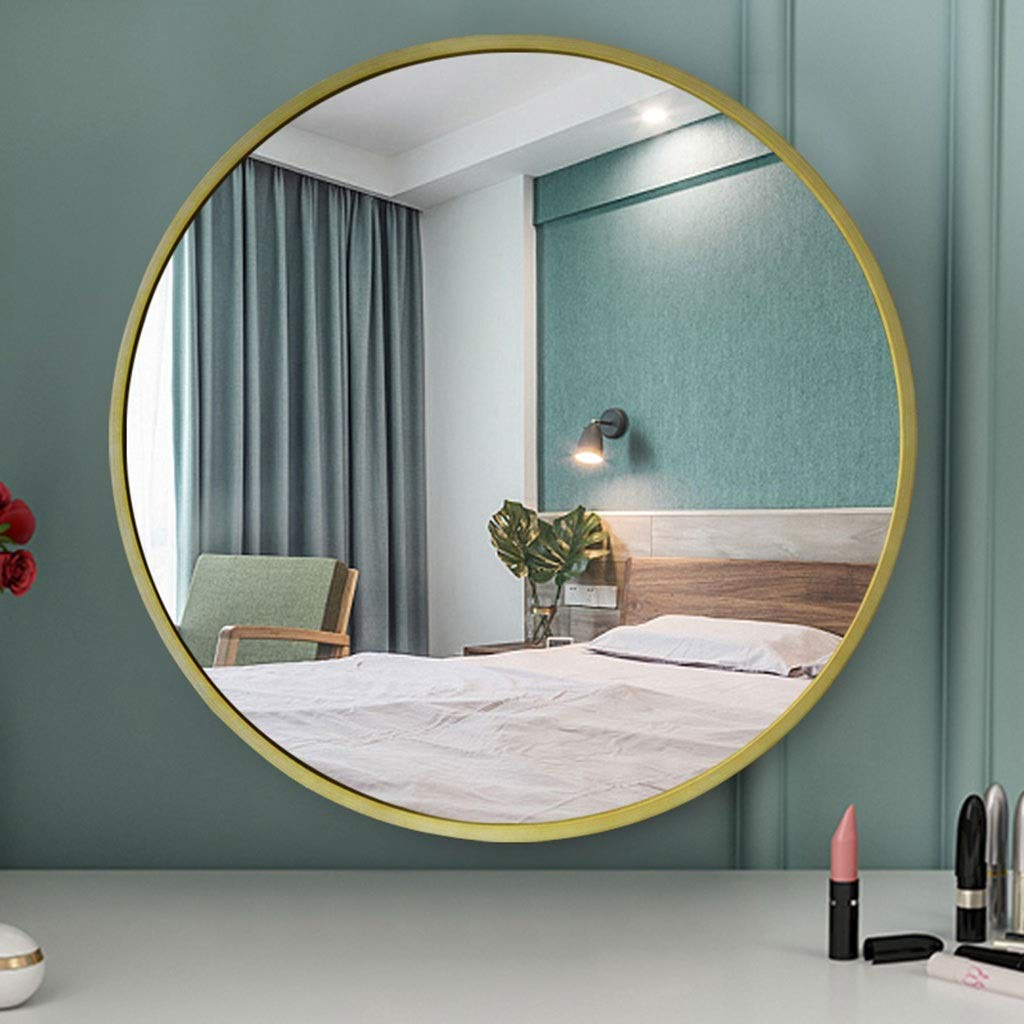 Most Up To Date Rxy Mirror European Wooden Frame Round Bathroom Mirror, Bedroom Wall Throughout Wall Mirrors For Bedroom (View 14 of 20)