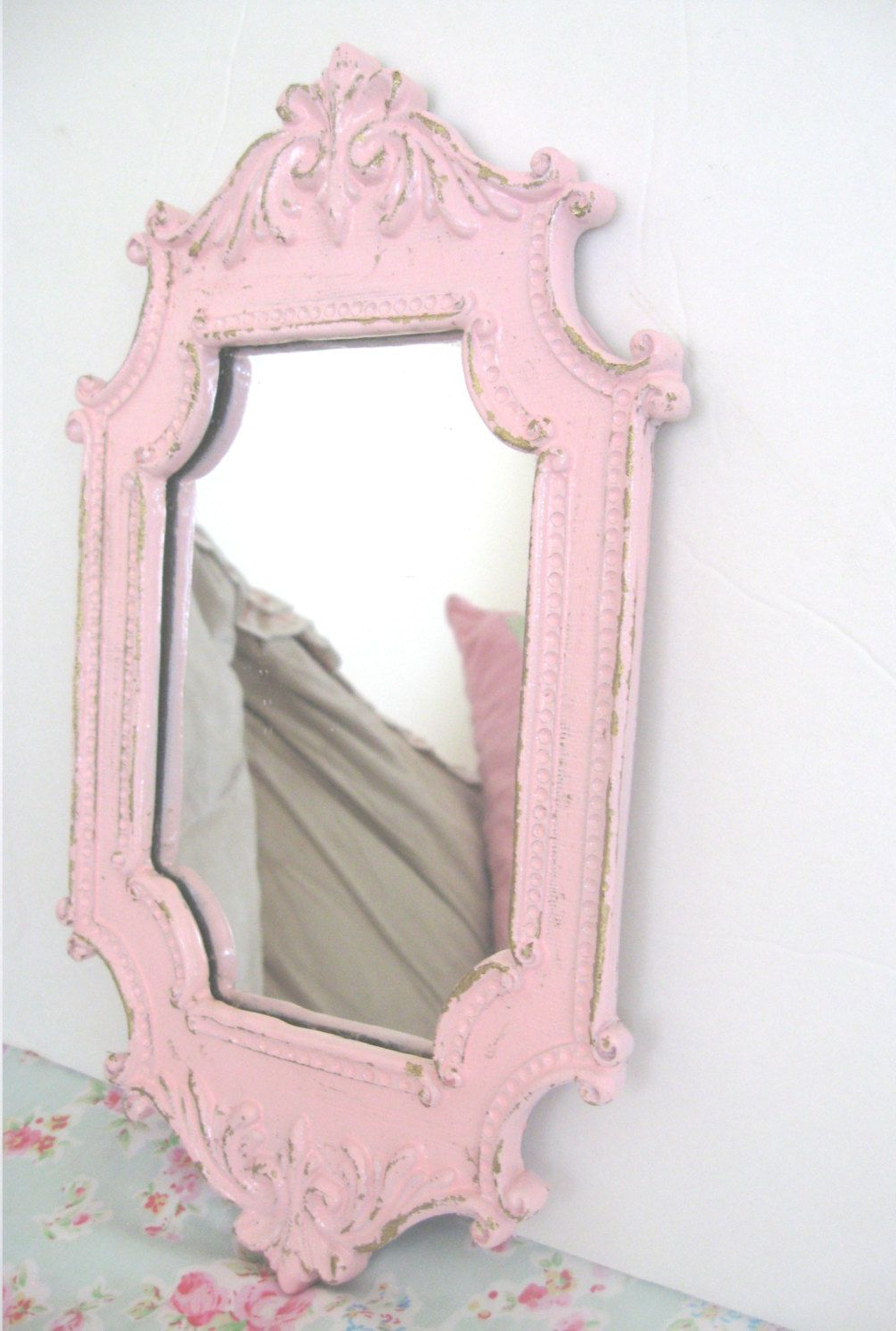Most Up To Date Shabby Chic Pink Wall Mirror Very Ornate Flourishes Chippy Pertaining To Pink Wall Mirrors (View 2 of 20)