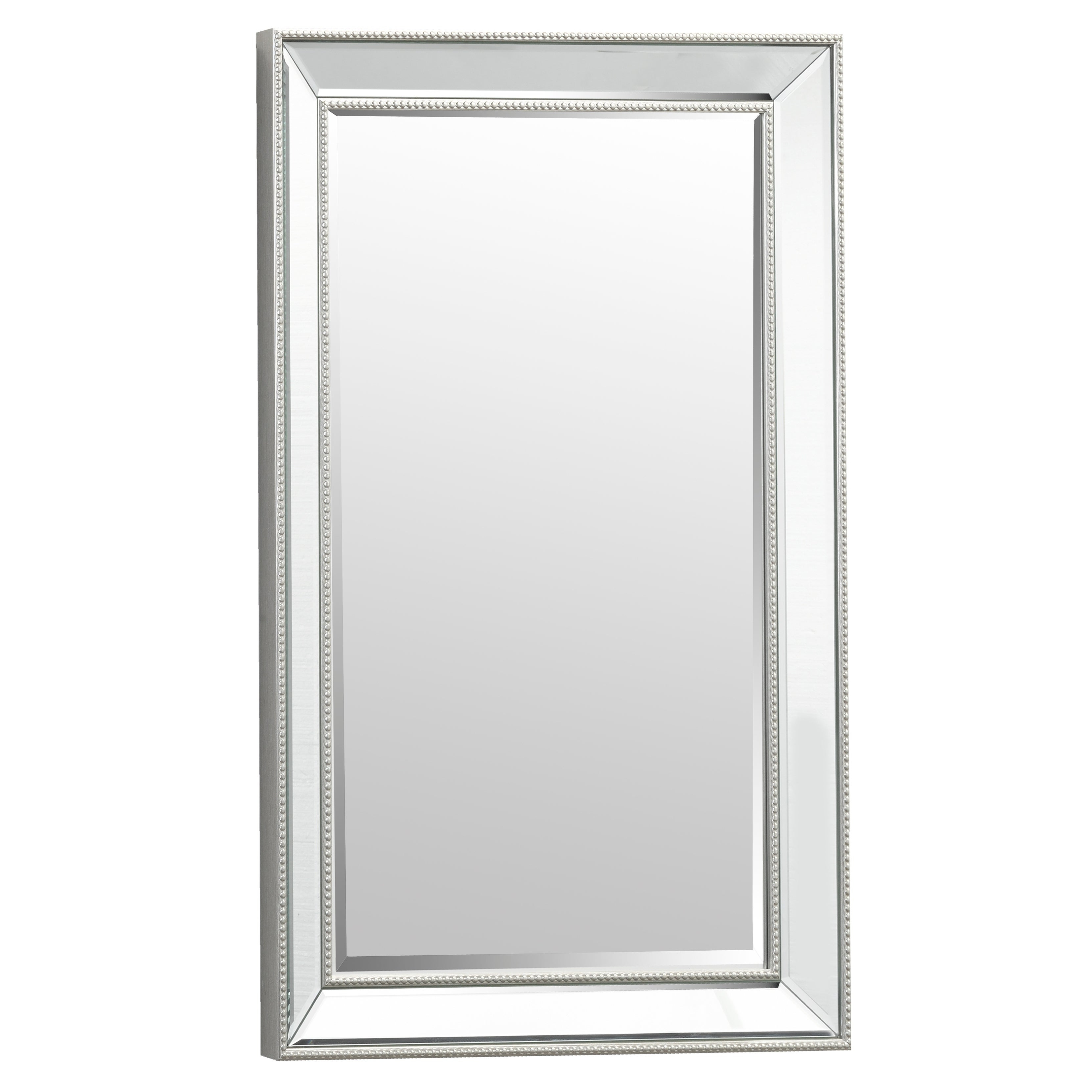 Most Up To Date Silver Beaded Rectangular Vanity Wall Mirror And Beveled Mirror Frame Intended For Beaded Accent Wall Mirrors (View 17 of 20)
