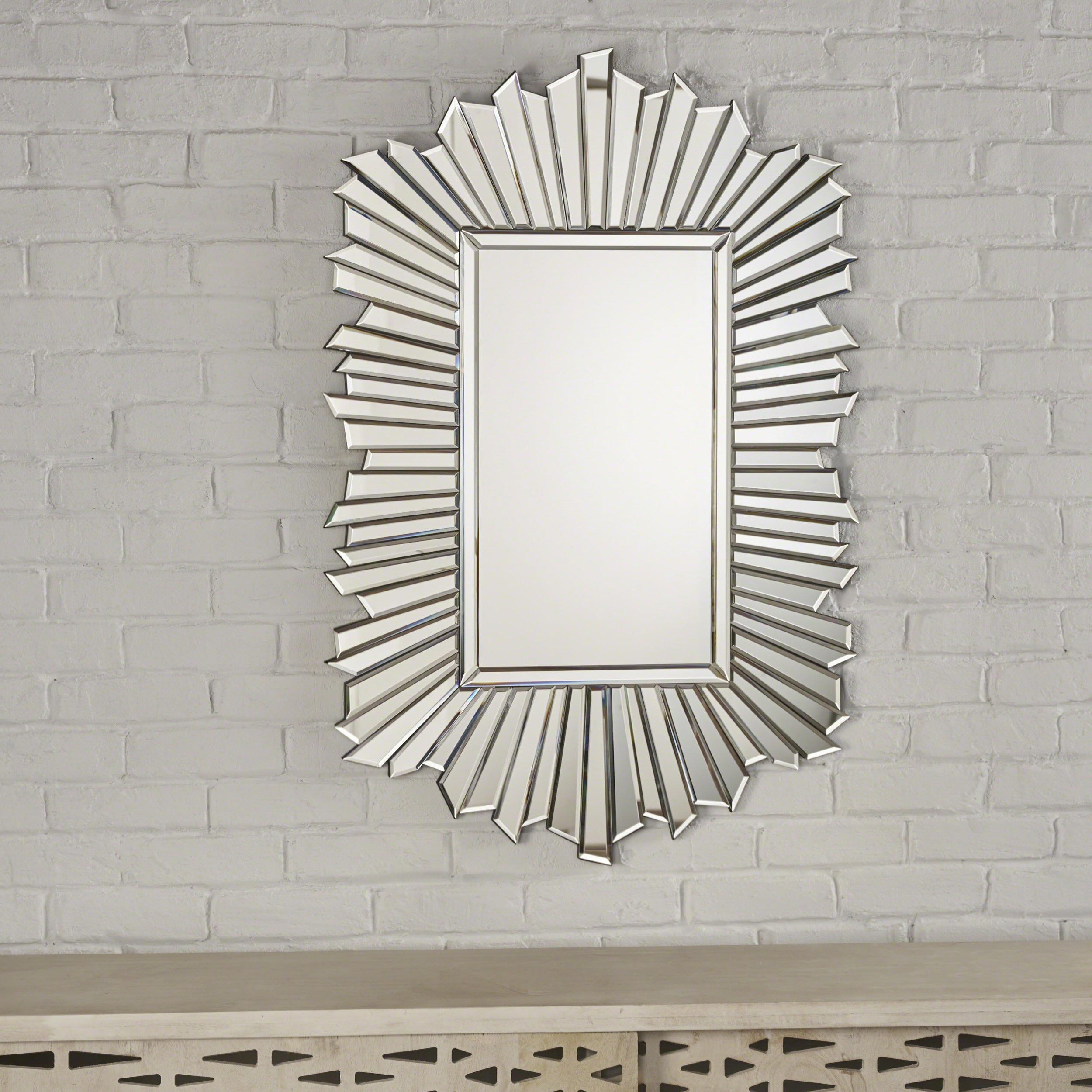 Most Up To Date Star Wall Mirrors For Graydon Star Burst Rectangular Wall Mirrorchristopher Knight Home –  Silver (View 7 of 20)