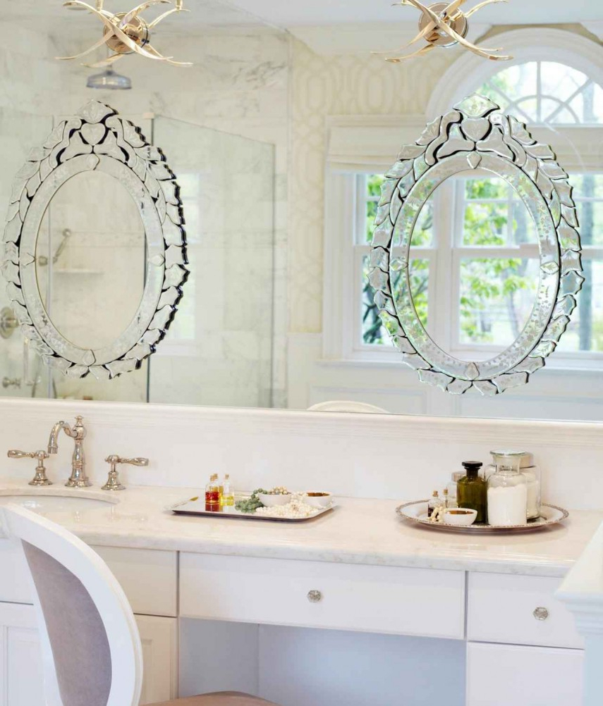 Most Up To Date Tri Fold Bathroom Wall Mirrors Throughout Interior: Vintage Venetian Mirror For Classic Interior Decor (View 7 of 20)