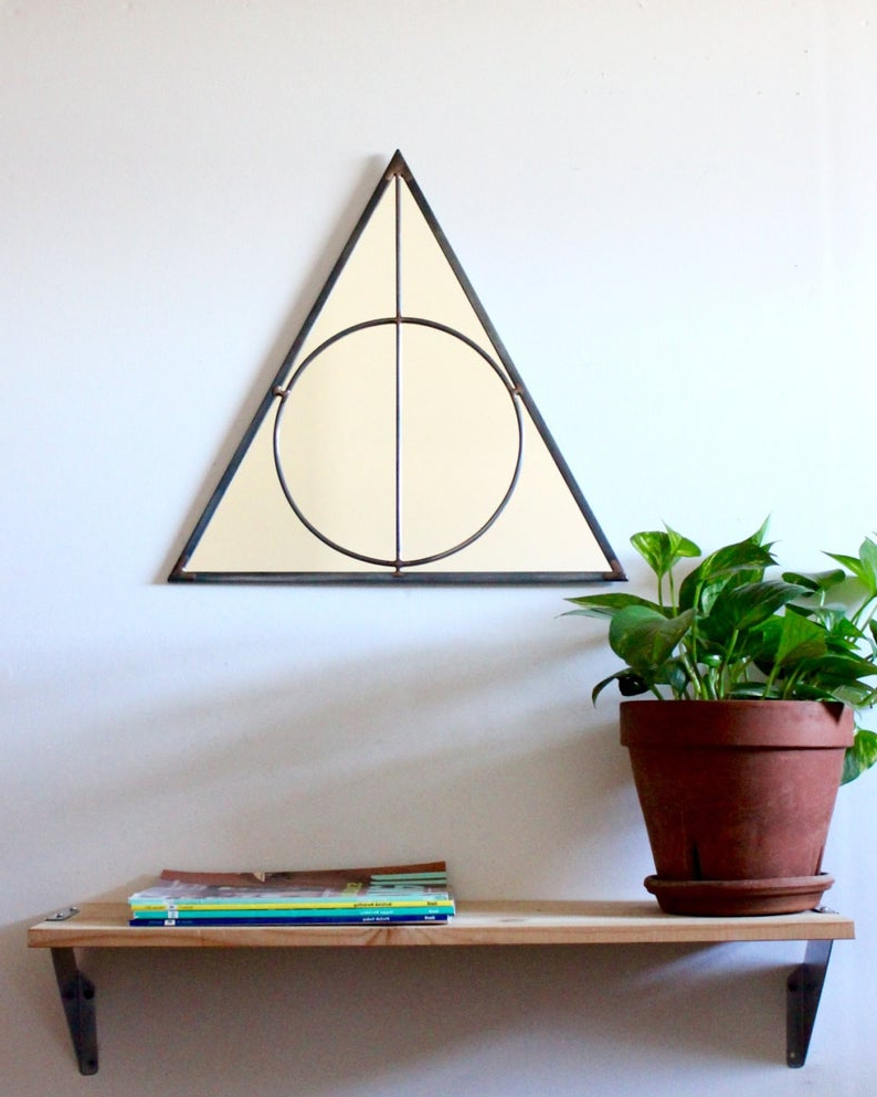 Most Up To Date Triangle Circle Wall Mirror Geometric / Large Handmade Wall Mirror Pyramid Within Large Circular Wall Mirrors (View 15 of 20)