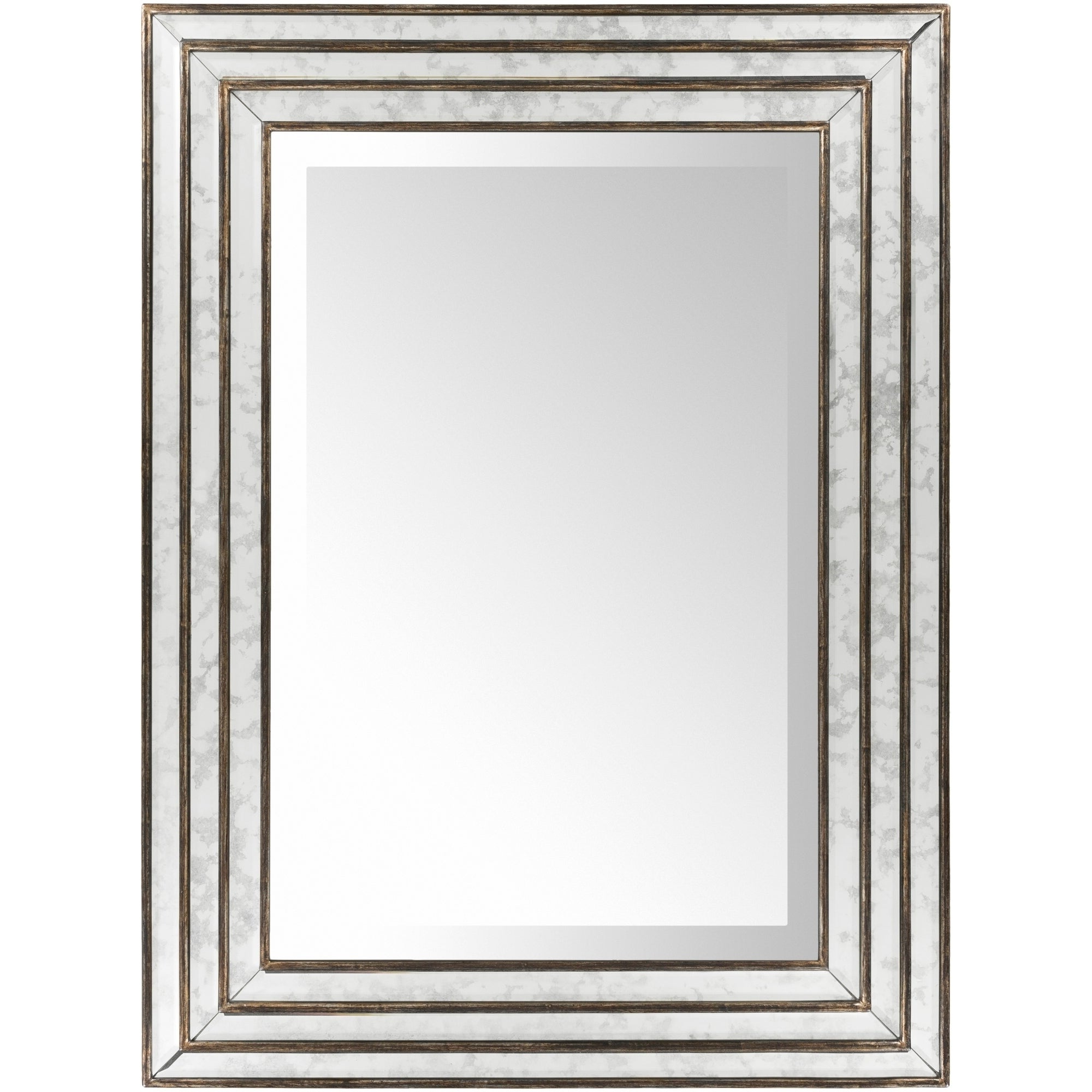 Most Up To Date Trinity Triple Framed Antiqued Wall Mirror – Antique Silver –  (View 15 of 20)