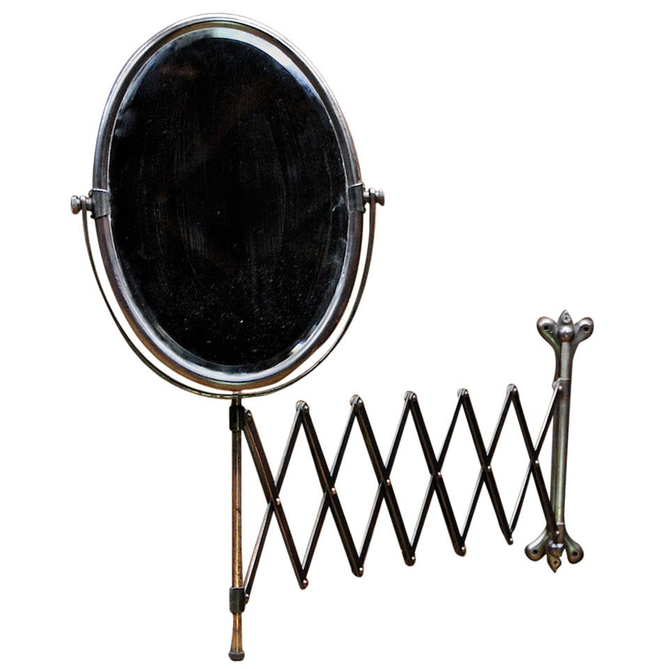 Most Up To Date Victorian Industrial Age Oval Bronze Toned Scissor Accordion Wall Mount Mirror For Accordion Wall Mirrors (View 9 of 20)