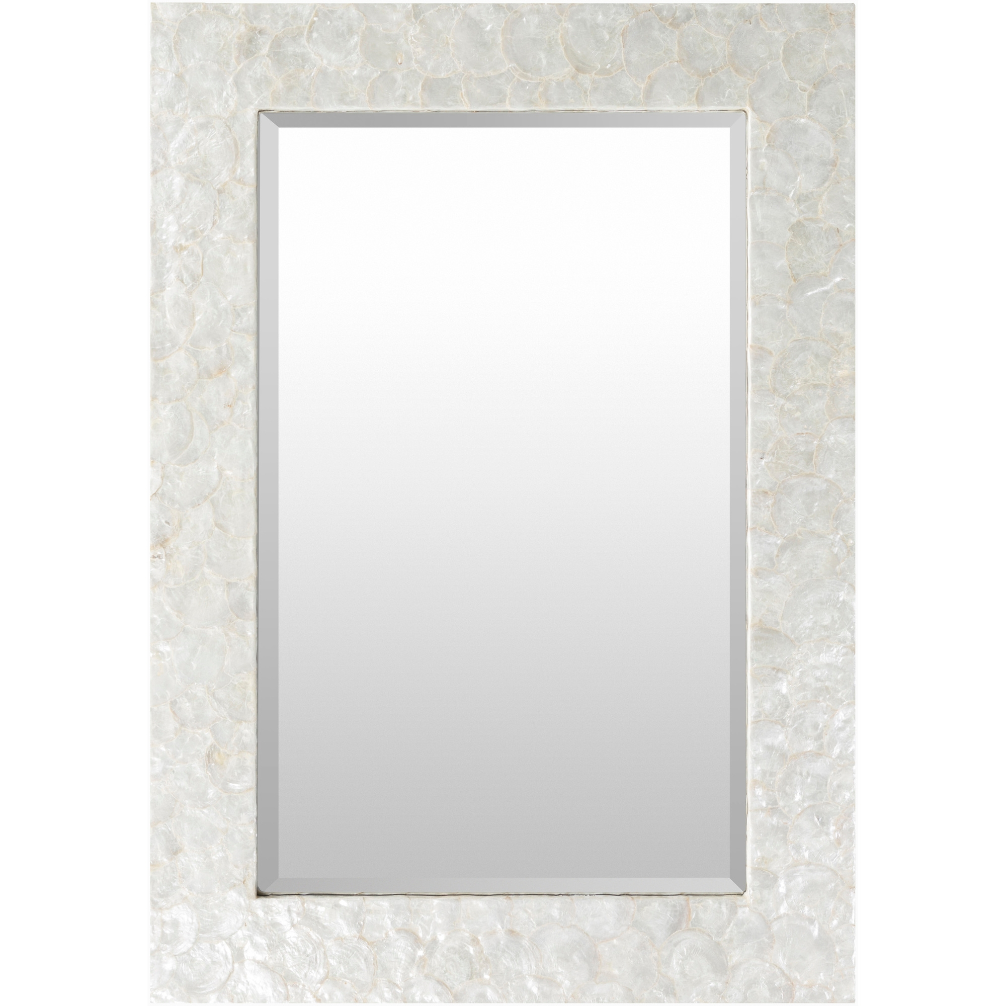 "Most Up To Date Whitaker White Mother Of Pearl 40"" X 28"" X 1"" Mirror, White Intended For Mother Of Pearl Wall Mirrors (View 2 of 20)"