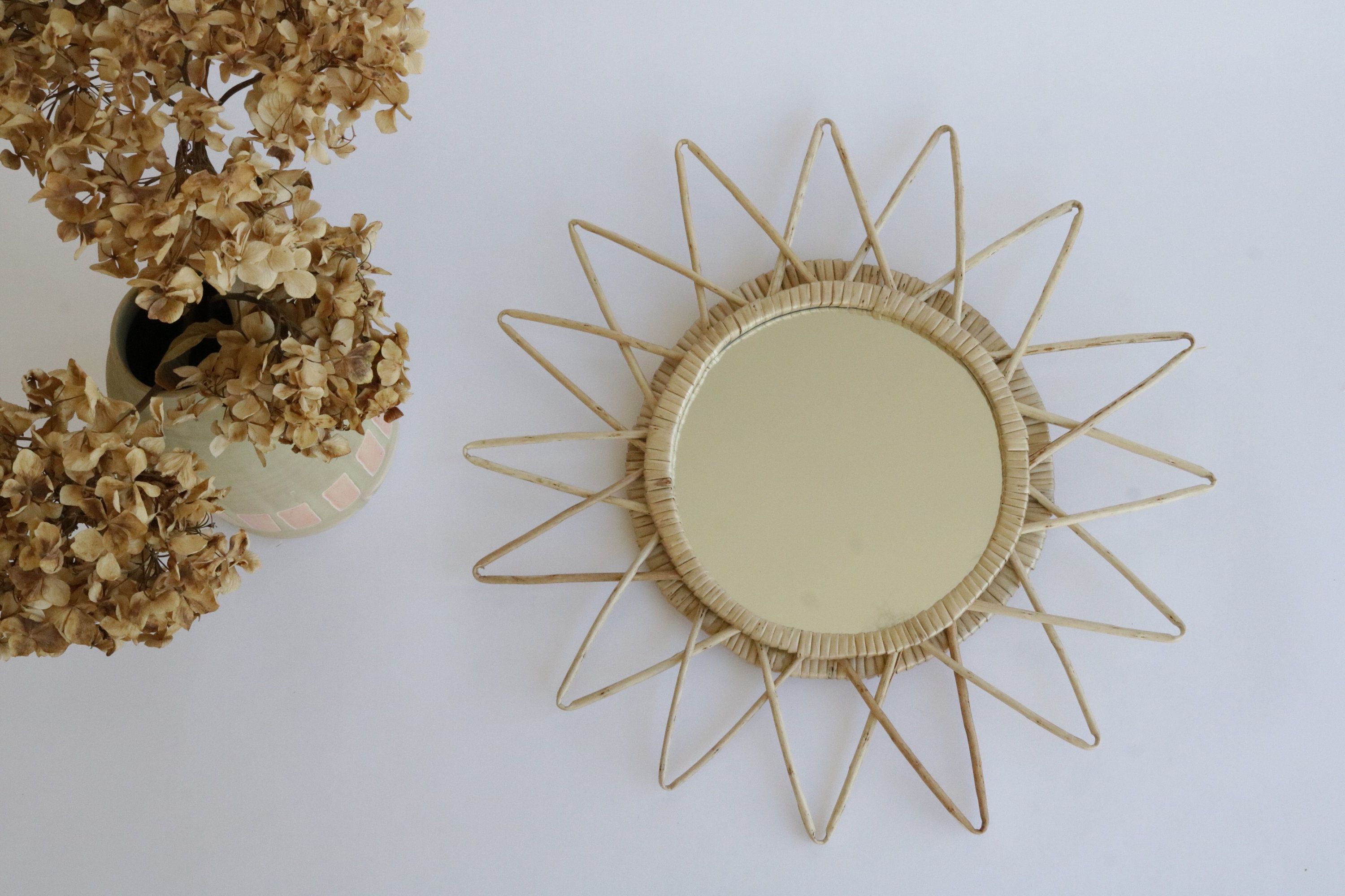 Most Up To Date Wicker Mirror, Sunburst Wall Mirror, Room Mirror, Miroir Soleil, Miroir En  Osier, Pajupeili, Rieten Spiegel, Rattan Mirror, Espejo De Mimbre With Regard To Soleil Wall Mirrors (View 12 of 20)