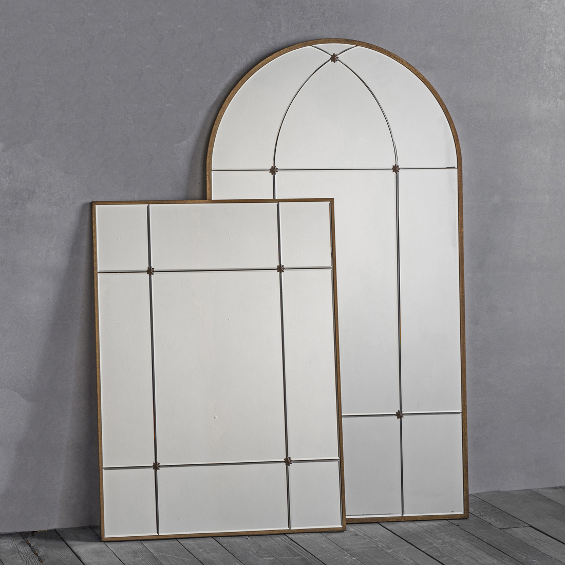 Most Up To Date Window Wall Mirrors Within Gold Window Wall Mirror – Arch Or Rectangle (View 13 of 20)