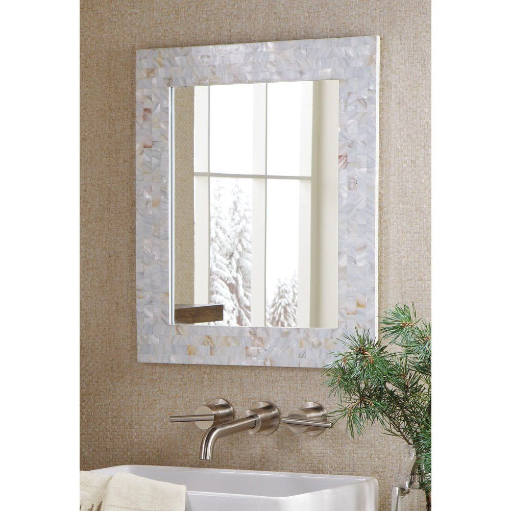 Mother Of Pearl Wall Mirrors Regarding Well Liked Amazon: Mother Of Pearl Mosaic Tiles White Wall Mirror (View 16 of 20)