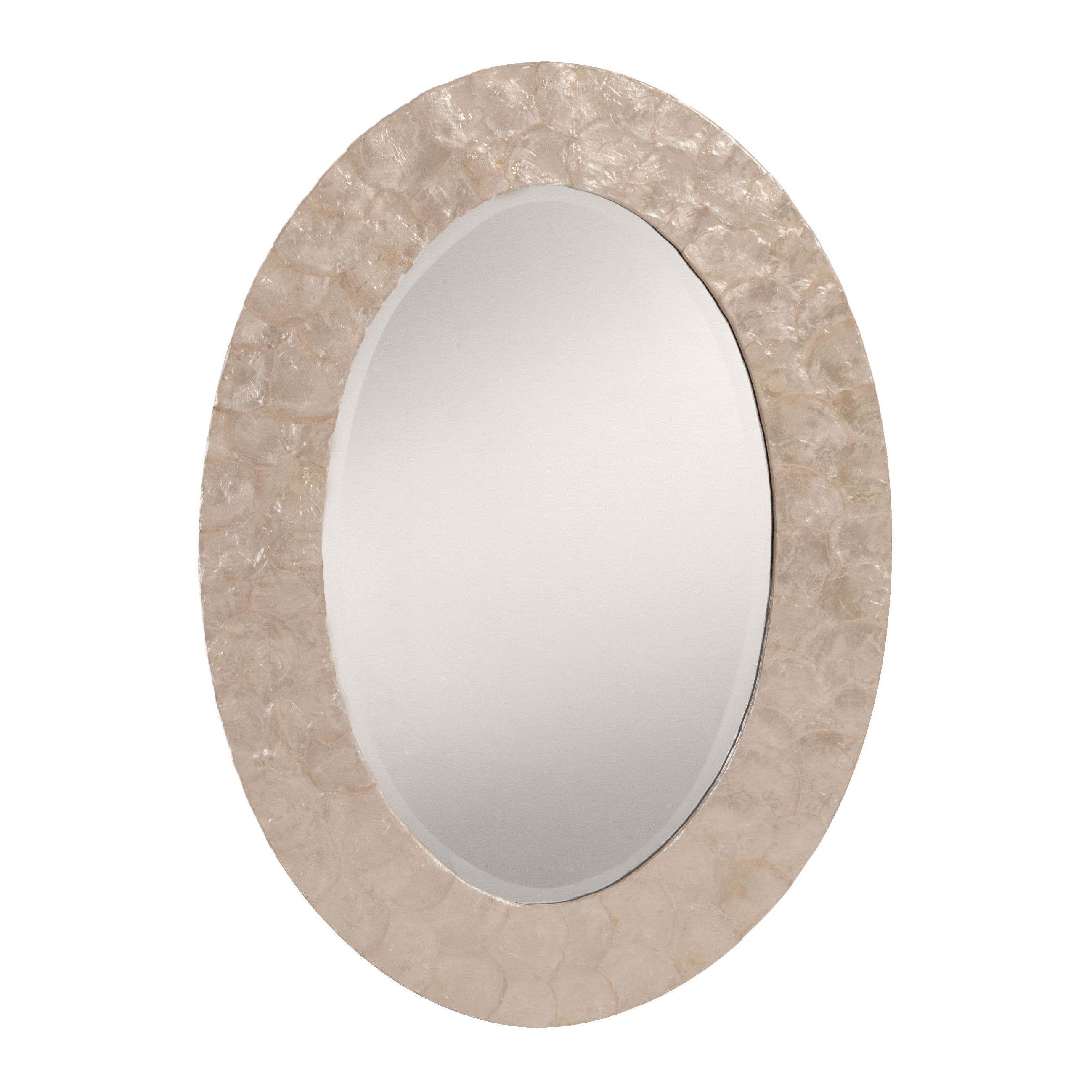 Mother Of Pearl Wall Mirrors With Favorite Osp Home Furnishings White Mother Of Pearl Finished Frame Decorative Beveled Wall Mirror – N/a (View 7 of 20)