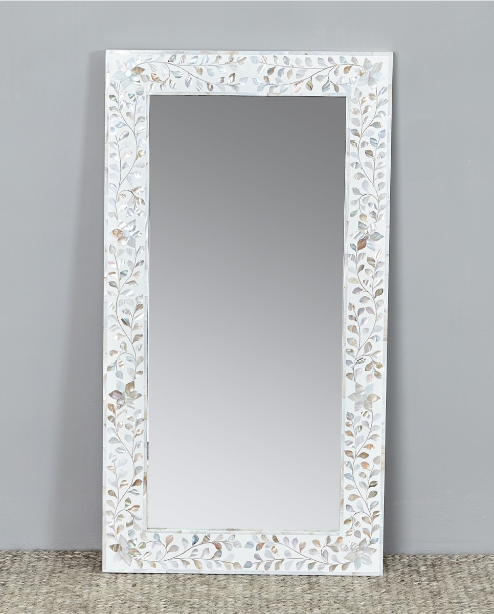Mother Of Pearl Wall Mirrors With Regard To 2020 Floral Mop Inlay Mirror Frame, White (View 15 of 20)
