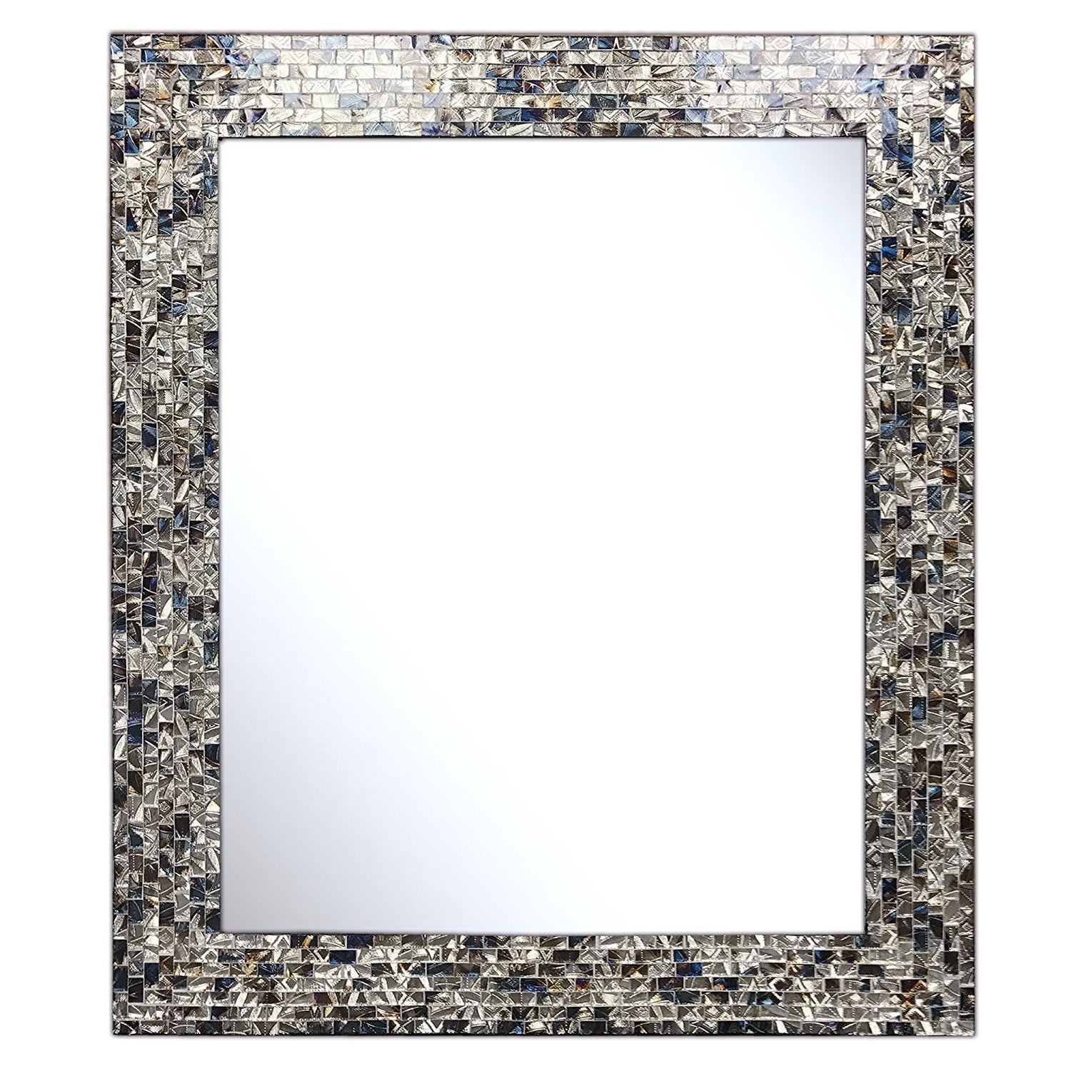 "Multi Colored & Silver, Luxe Mosaic Glass Framed Wall Mirror, Decorative  Embossed Rectangular Vanity / Accent Mirror (30"" X 24"") Regarding Fashionable Silver Framed Wall Mirrors (View 10 of 20)"