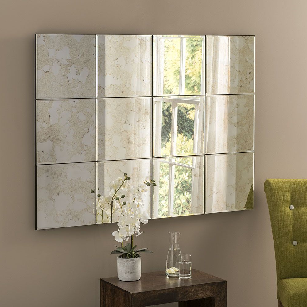 Multi Panel Wall Mirrors With Most Current Uk Made Multi Panel Antique Glass Statement Mirror 122 X 91 Cm (View 15 of 20)