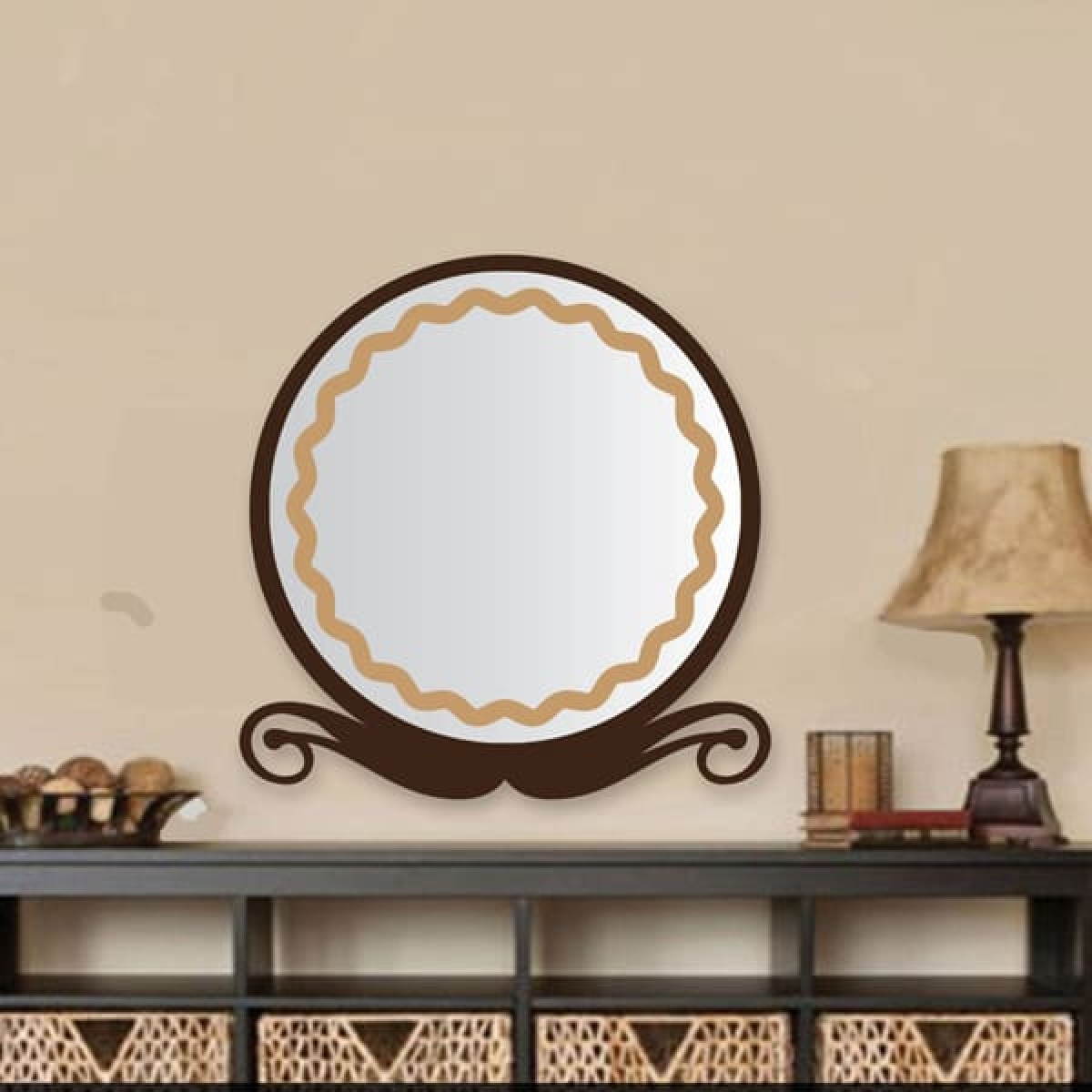 Mustache Shaped Light Brown Wall Mirror Online Delivery To Amman/jordan Intended For Widely Used Brown Wall Mirrors (View 20 of 20)