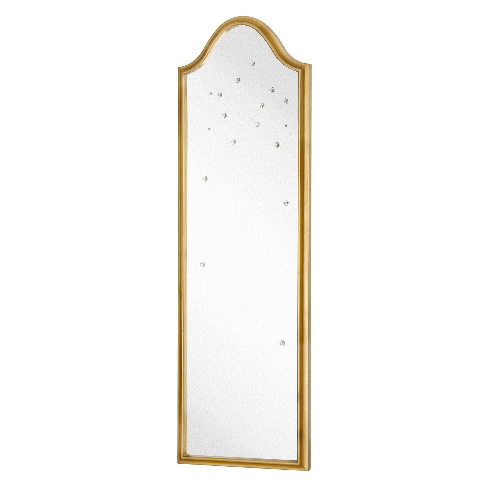 Narrow Wall Mirrors With 2019 Majestic Tall Narrow Wall Mirror With Gold Leaf Frame And Crystal (Gallery 18 of 20)