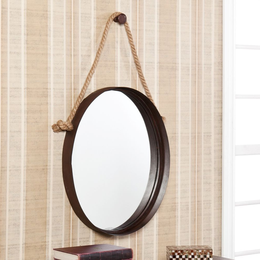 Nautical Wall Mirrors In Popular Decorative Rope Hanging Oval Round Wall Mirror Nautical (Gallery 3 of 20)