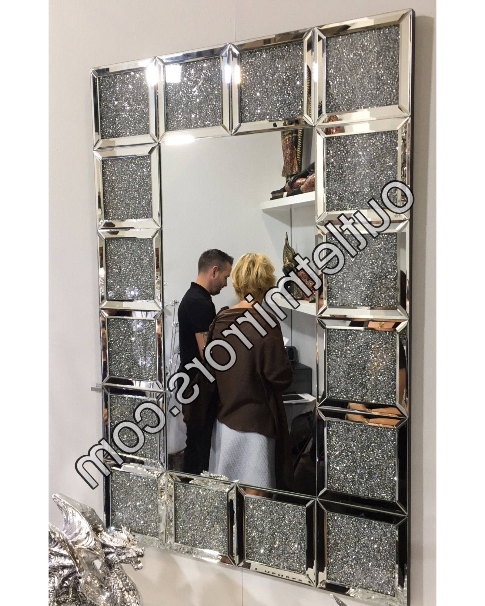 New Diamond Crush Sparkle Zezan Wall Mirror 120Cm X 93Cm For Most Recent Sparkle Wall Mirrors (Gallery 18 of 20)