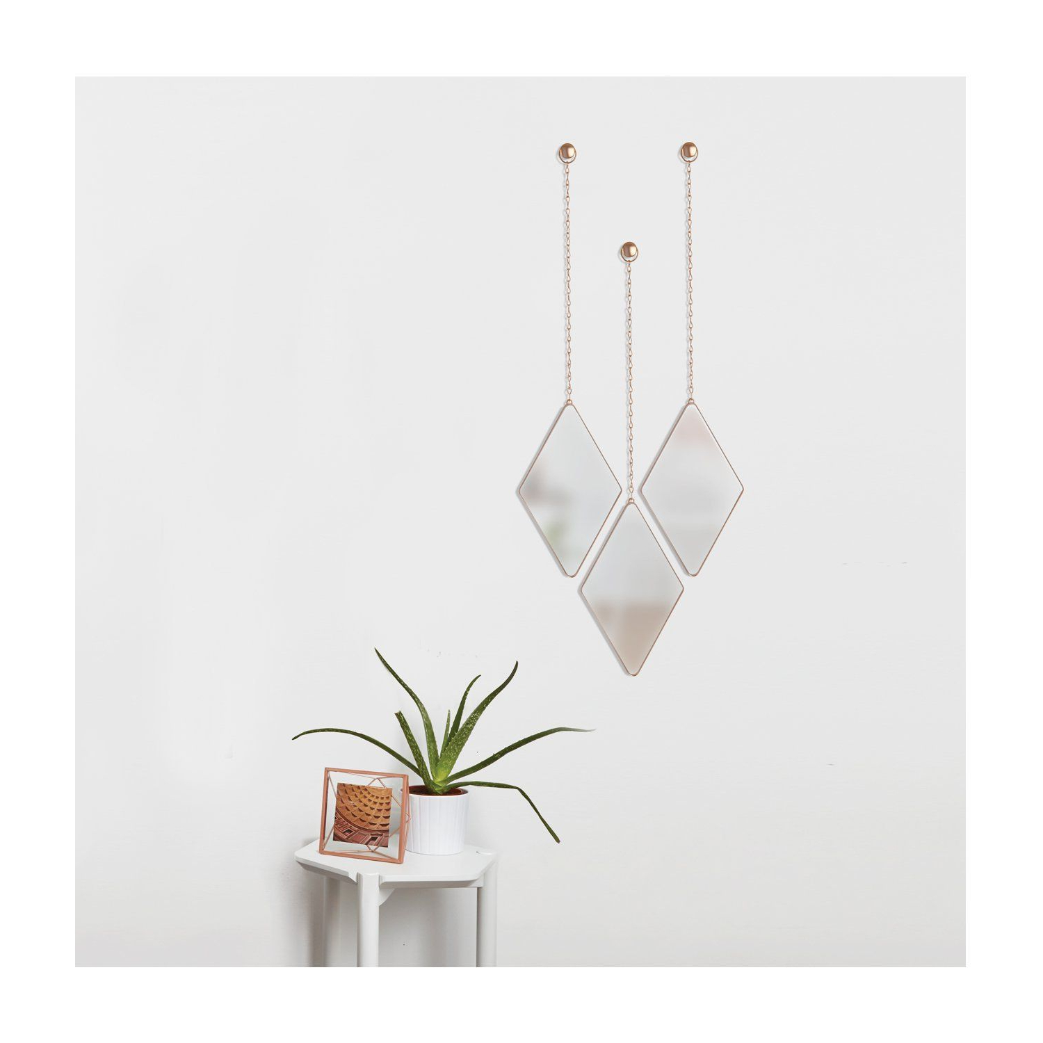 Newest 3 Piece Dima Hanging Modern & Contemporary Mirror Sets Pertaining To Amazon: Umbra Dima Mirrors (Set Of 3), Copper: Home & Kitchen (Gallery 9 of 20)