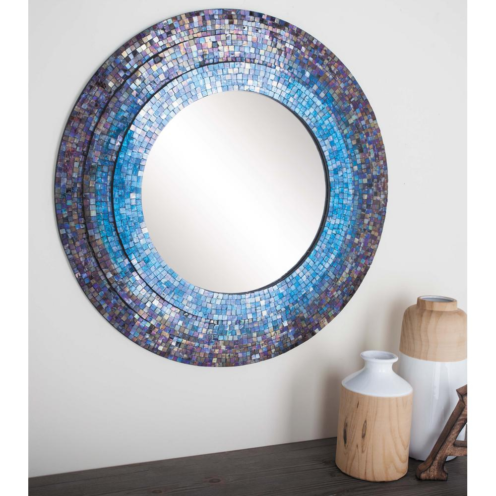 Newest 30 In. Dia Blue Mosaic Framed Mirror Regarding Blue Framed Wall Mirrors (Gallery 11 of 20)