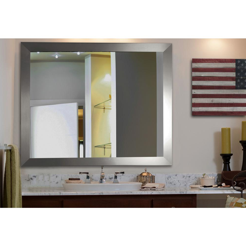 Newest 38 In. X 32 In. Silver Wide Non Beveled Vanity Wall Mirror Inside Vanity Wall Mirrors (Gallery 11 of 20)