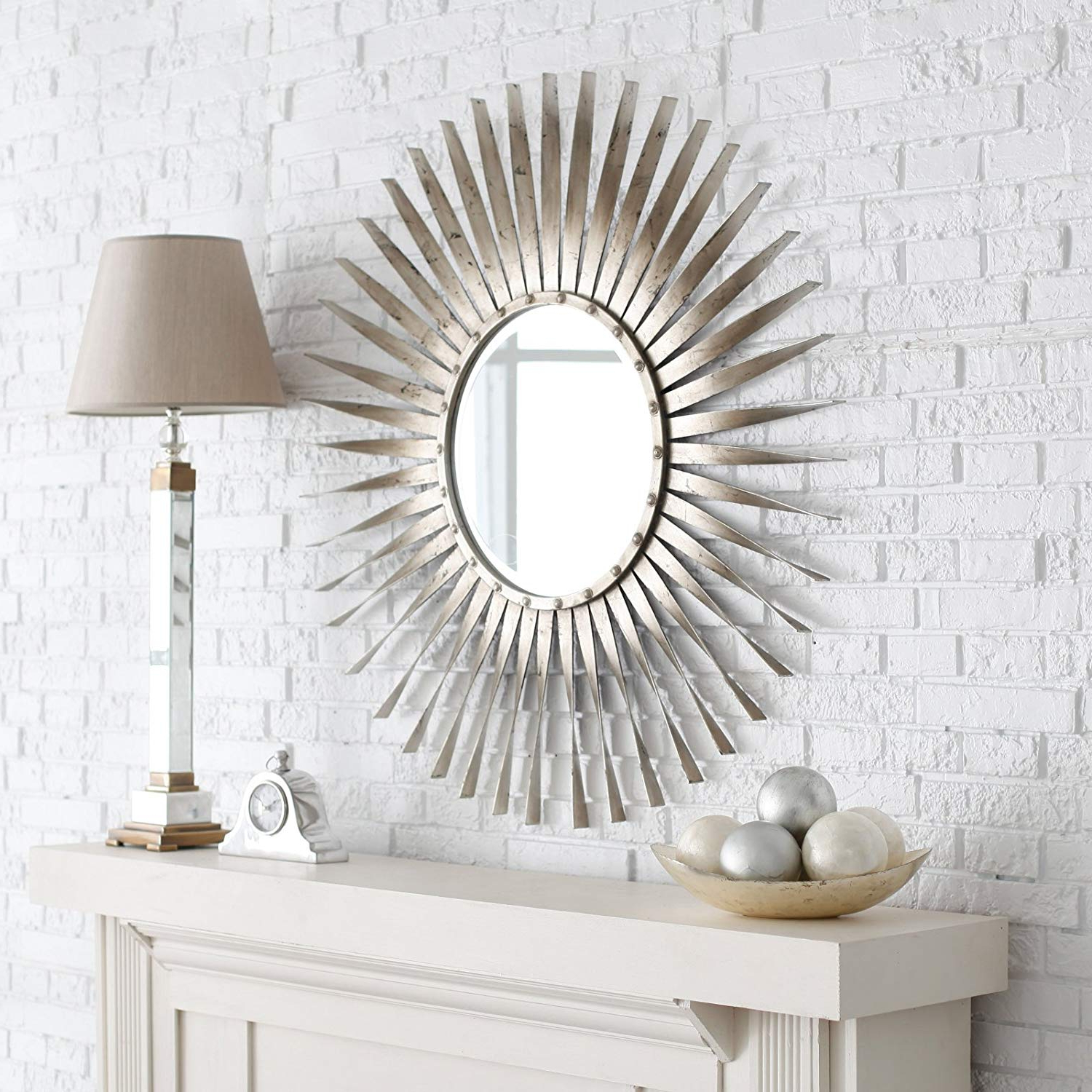 Newest Amazon: Intelligent Design Contemporary Silver Sunburst Wall In Large Sunburst Wall Mirrors (View 4 of 20)