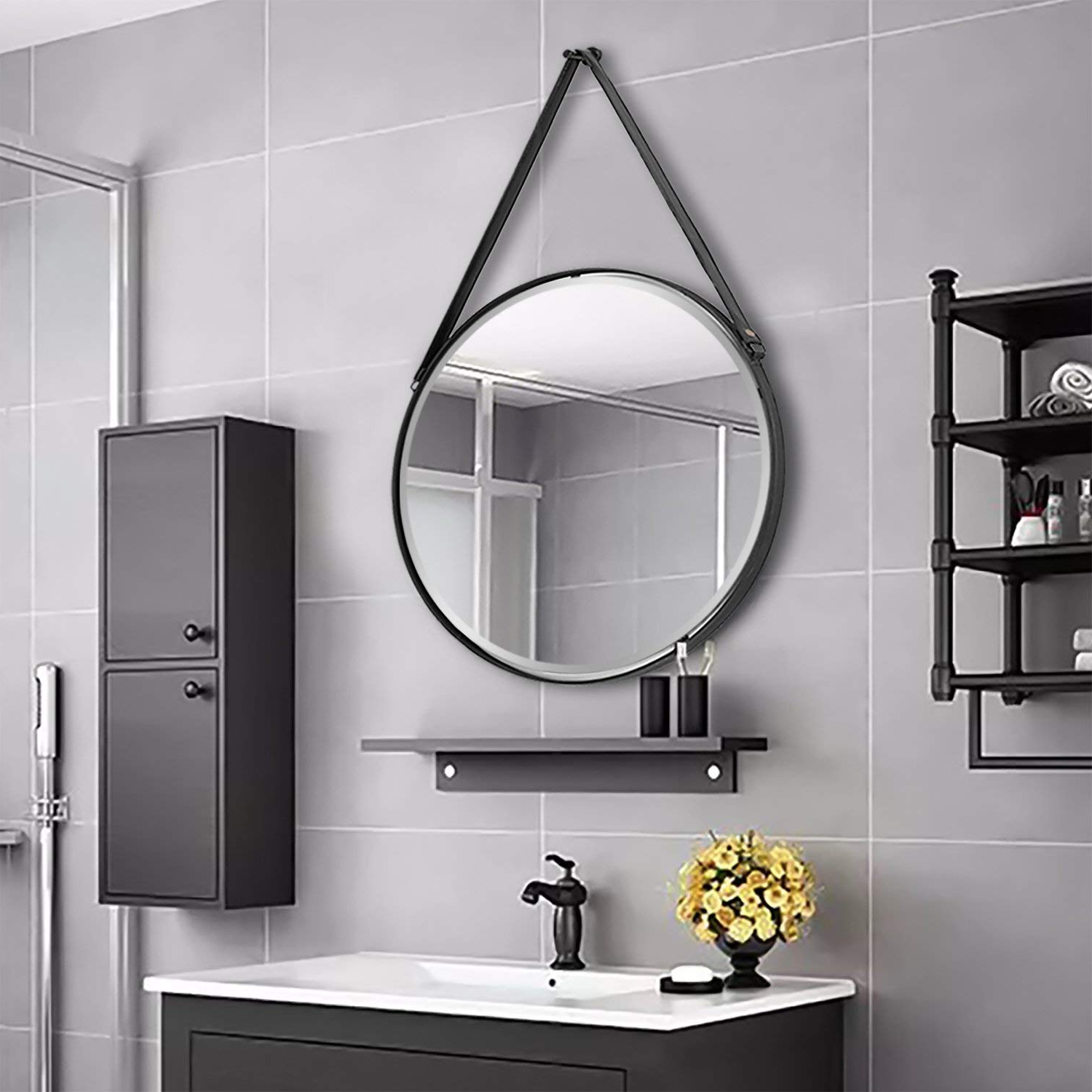 Newest Bathroom Mirrors Round Lowes Black Frame Vanity Textile Mirror Metal Pertaining To Hanging Wall Mirrors For Bathroom (Gallery 11 of 20)